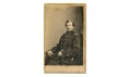 CDV THREE QUARTER SEATED VIEW OF COLONEL J. B. WOODWARD OF THE 13TH NEW YORK INFANTRY