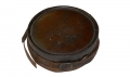 NICE LOOKING CONFEDRATE WOOD DRUM CANTEEN WITH LEATHER SLING