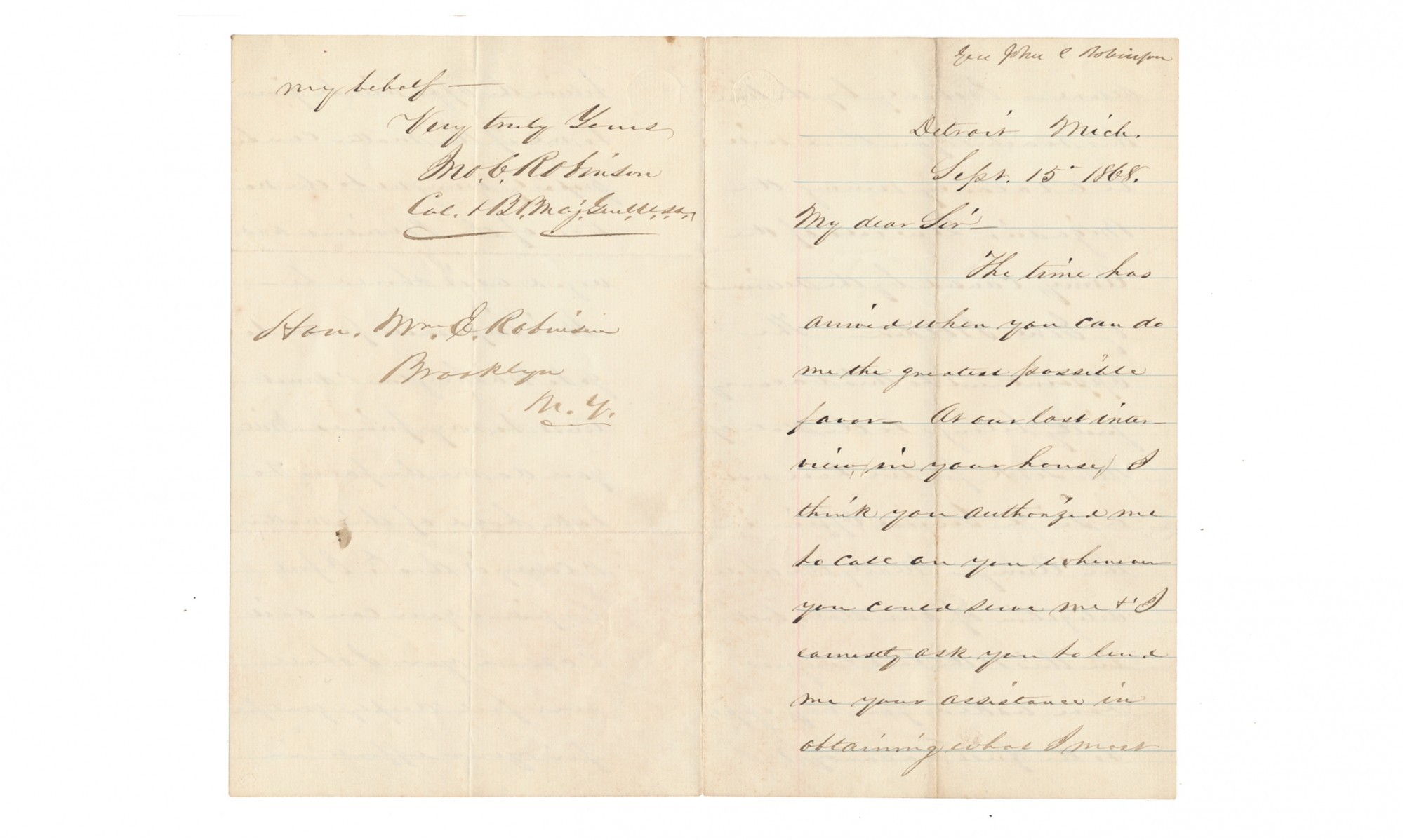 AUTOGRAPH LETTER SIGNED - JOHN C. ROBINSON, COLONEL AND BREVET MAJOR GENERAL, USA