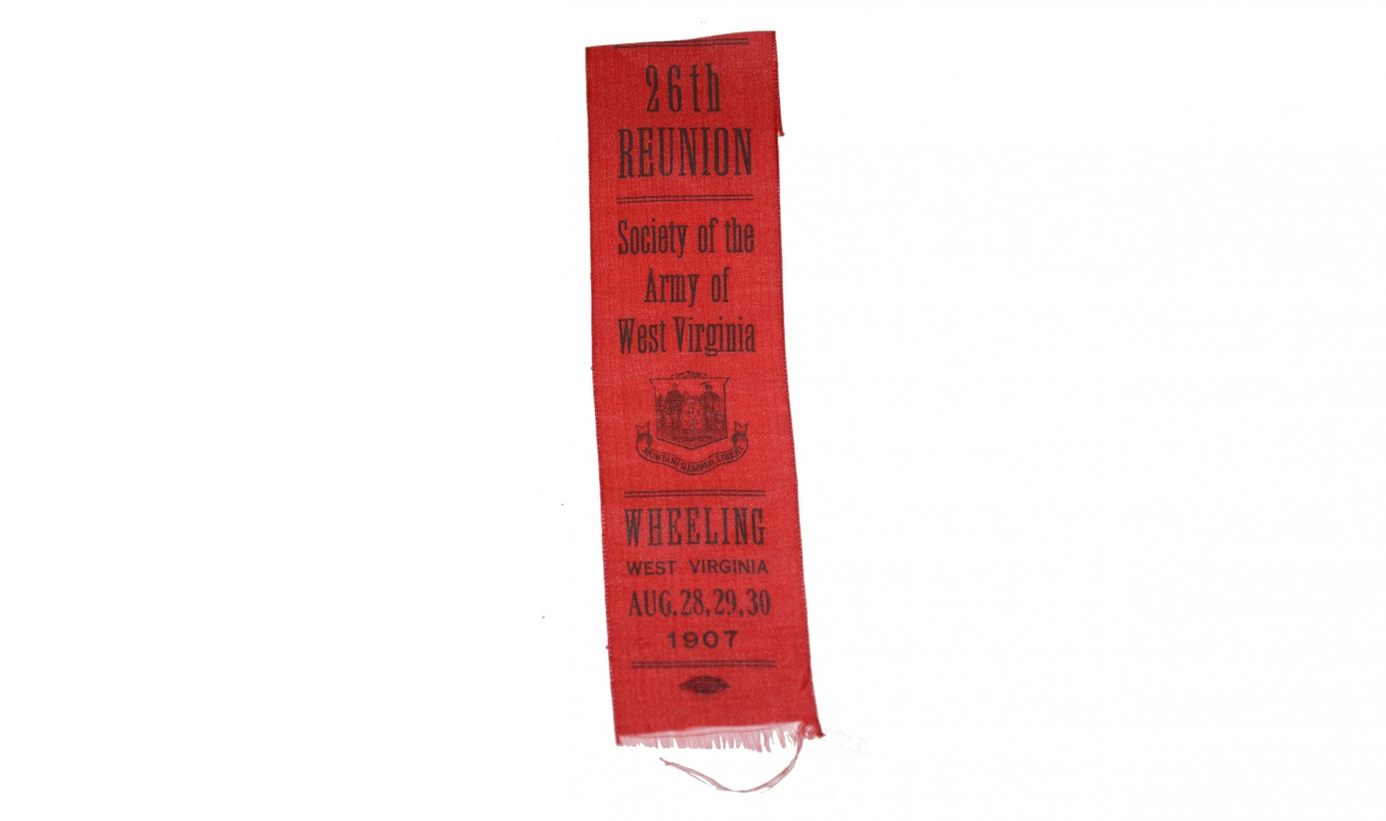 1907 REUNION RIBBON – SOCIETY OF THE ARMY OF WEST VIRGINIA