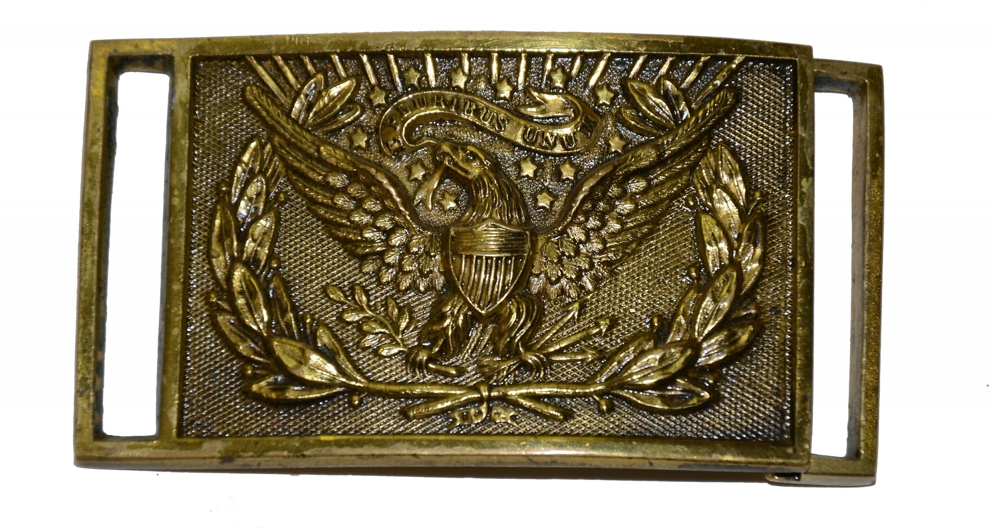 EXTRA FINE QUALITY AND CONDITION MAKER MARKED 1851 PATTERN RECTANGULAR OFFICER'S BELT BUCKLE, C. 1861-65