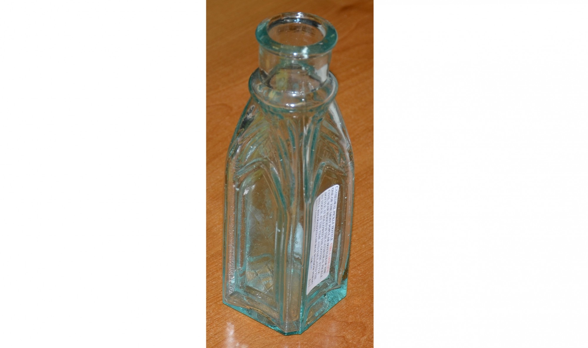 CATHEDRAL PICKLE BOTTLE, CIRCA 1858-1870