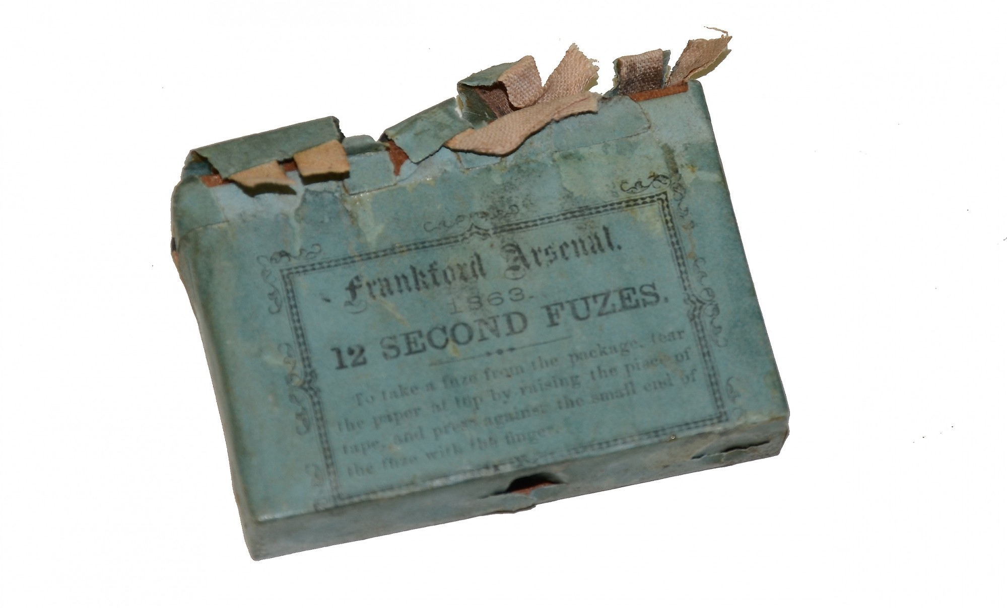 EMPTY PACK OF 12 SECOND ARTILLERY FUSES DATED 1863