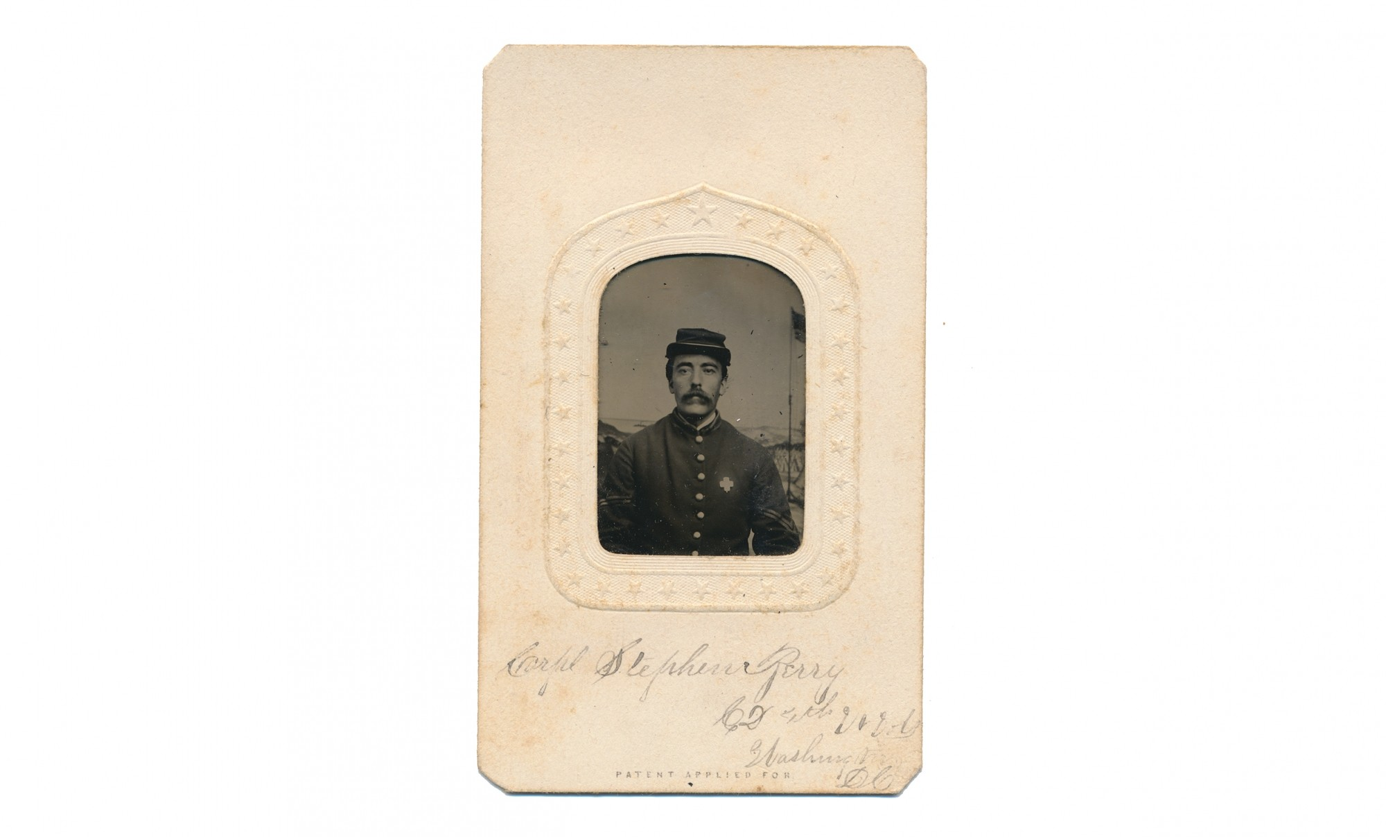 TINTYPE BUST VIEW OF 4TH VERMONT SOLDIER WOUNDED AT PETERSBURG