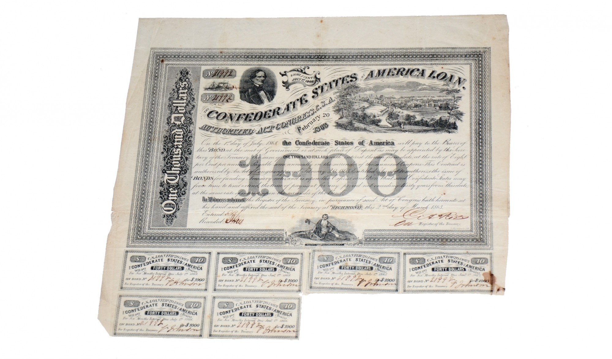 $1000 CONFEDERATE BOND ISSUED FROM RICHMOND