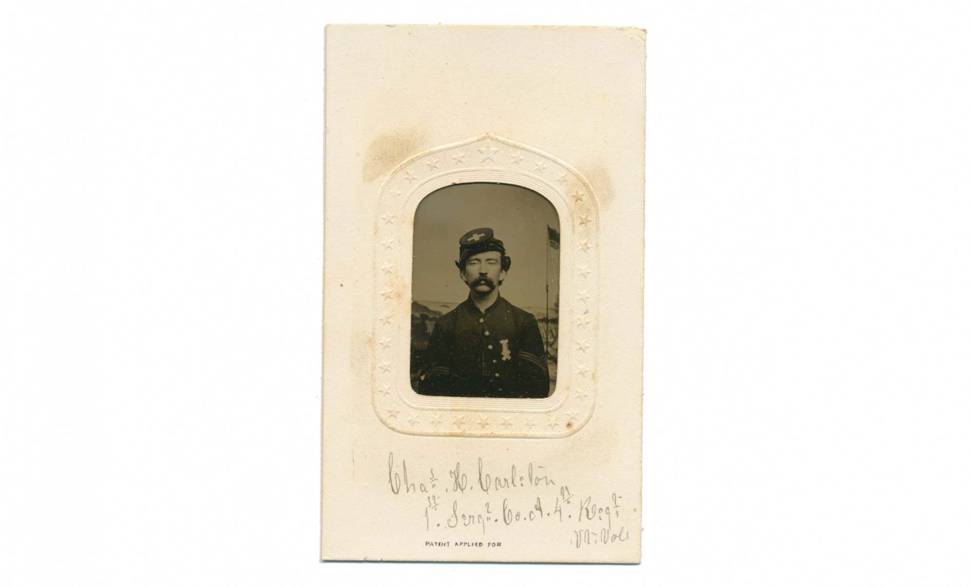 TINTYPE BUST VIEW OF ID'D 4TH VERMONT SOLDIER WOUNDED AT PETERSBURG