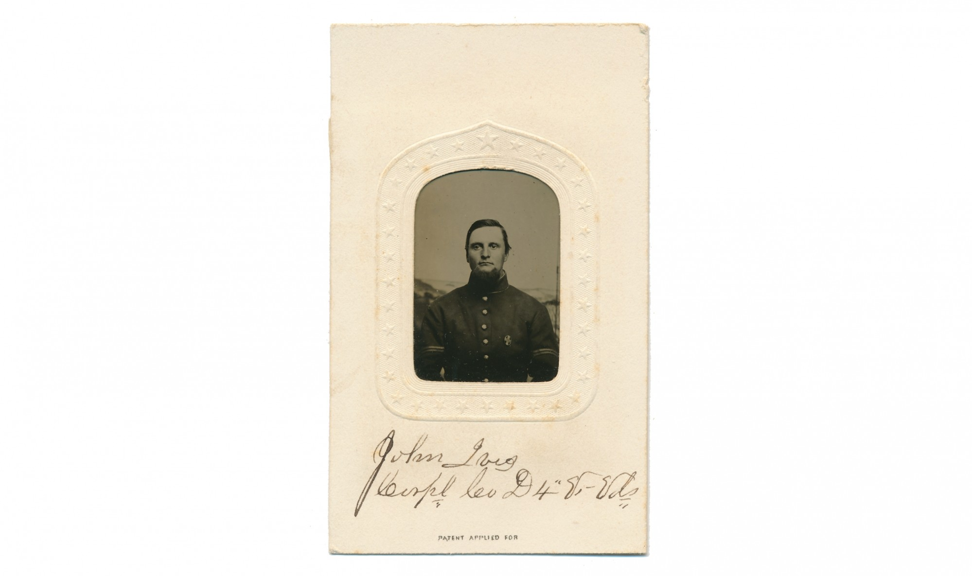 GEM SIZED TINTYPE OF THREE TIME WOUNDED 4TH VERMONT CORPORAL