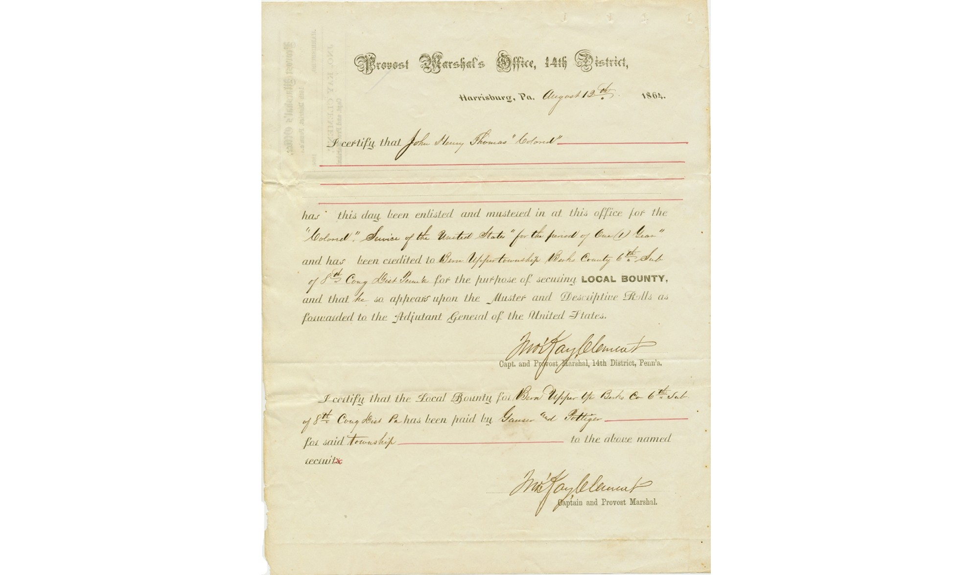 BERKS COUNTY, PA BOUNTY CERTIFICATE - PVT. JOHN ROY H. THOMAS, 45TH US COLORED TROOPS