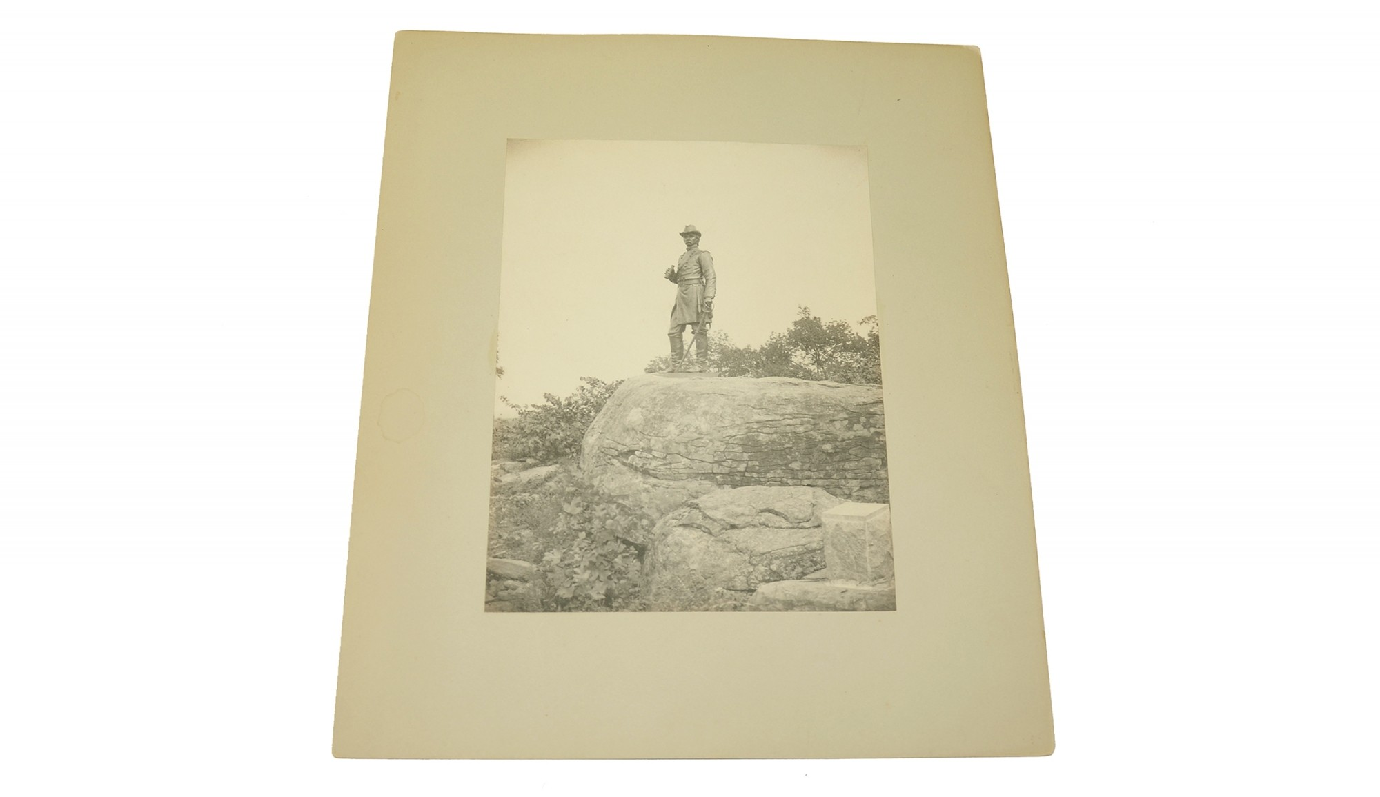LARGE CABINET PHOTO OF THE STATUE OF GENERAL WARREN ON LITTLE ROUND TOP AT GETTYSBURG