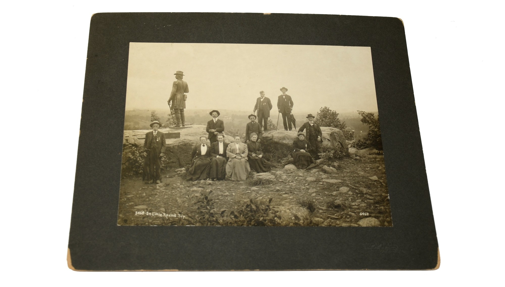 LARGE TIPTON CABINET PHOTO OF VETERANS GROUP ON LITTLE ROUND TOP