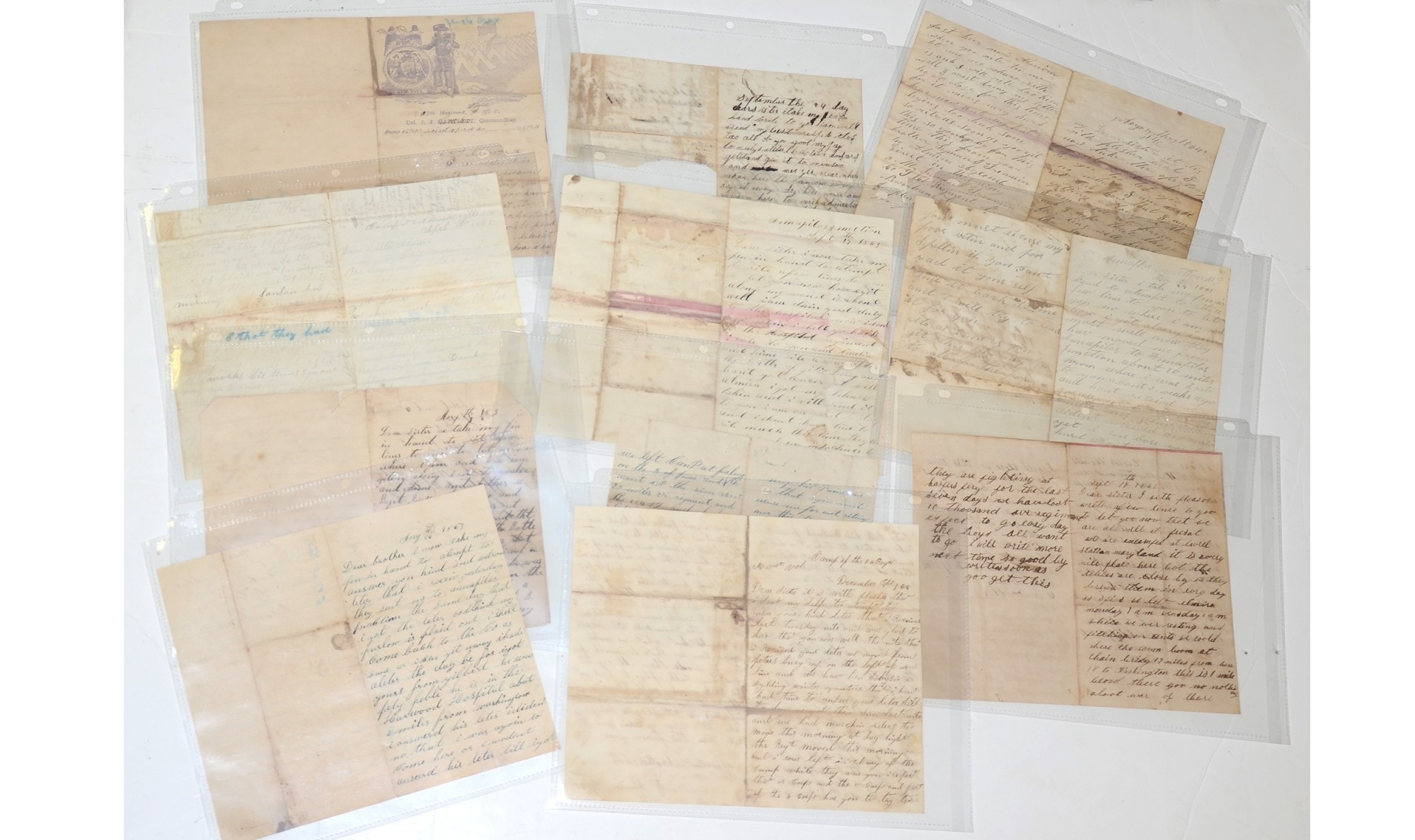 SOLDIER LETTER GROUPING – CORRESPONDENCE OF FIVE BROTHERS OF THE TREMAIN FAMILY OF LINDLEY, NY, FOUR OF WHOM WERE WOUNDED IN ACTION [GETTYSBURG, 7/2/1863; SABINE CROSS ROADS; 4/8/1864, RESACA, GA; 5/15/1864, PETERSBURG, 4/2/1865]