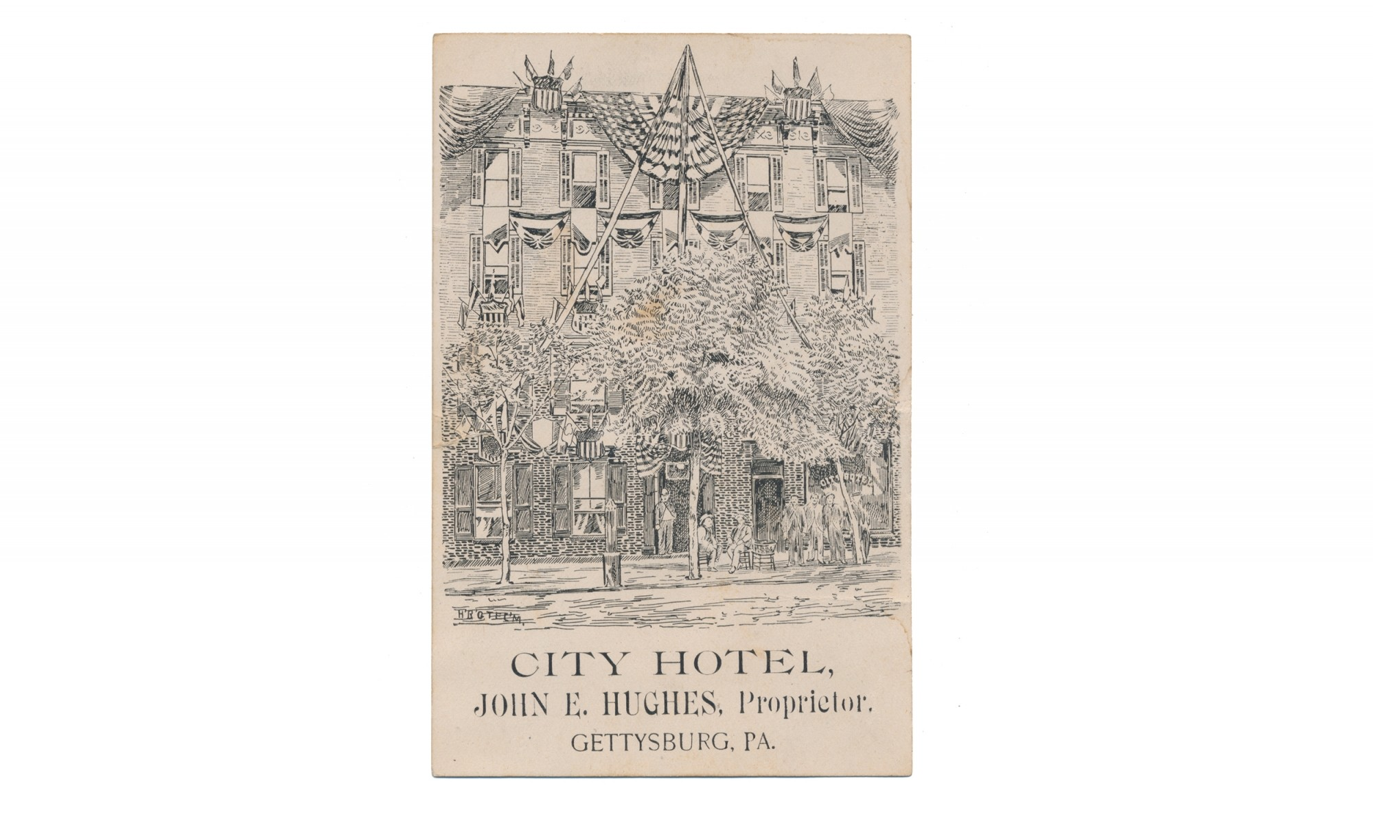 ADVERTISING CARD FOR CITY HOTEL - GETTYSBURG