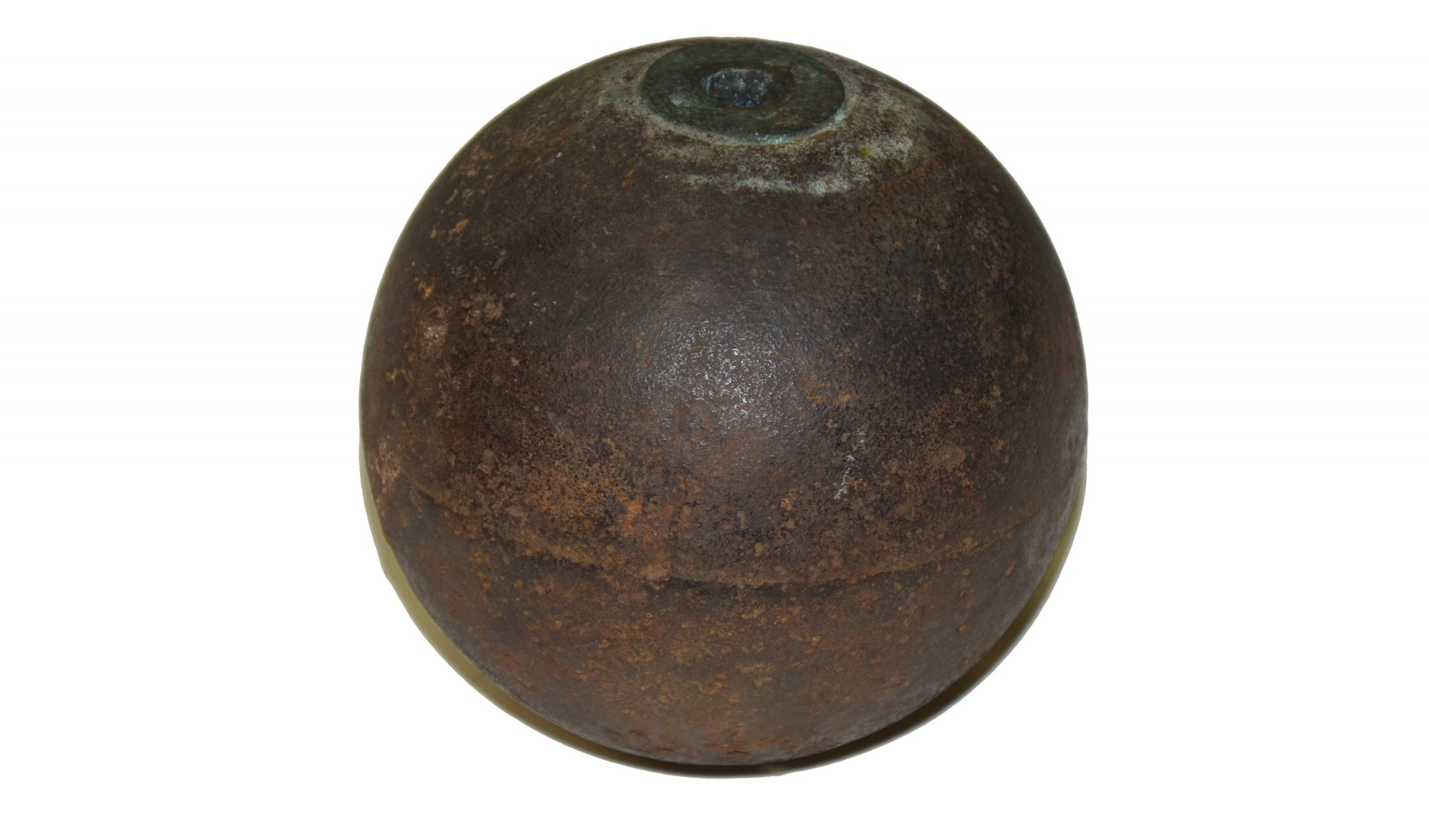 CS 4.52 INCH 12 POUNDER SPHERICAL SHELL WITH CS FUSE PLUG FROM GETTYSBURG COLLECTION
