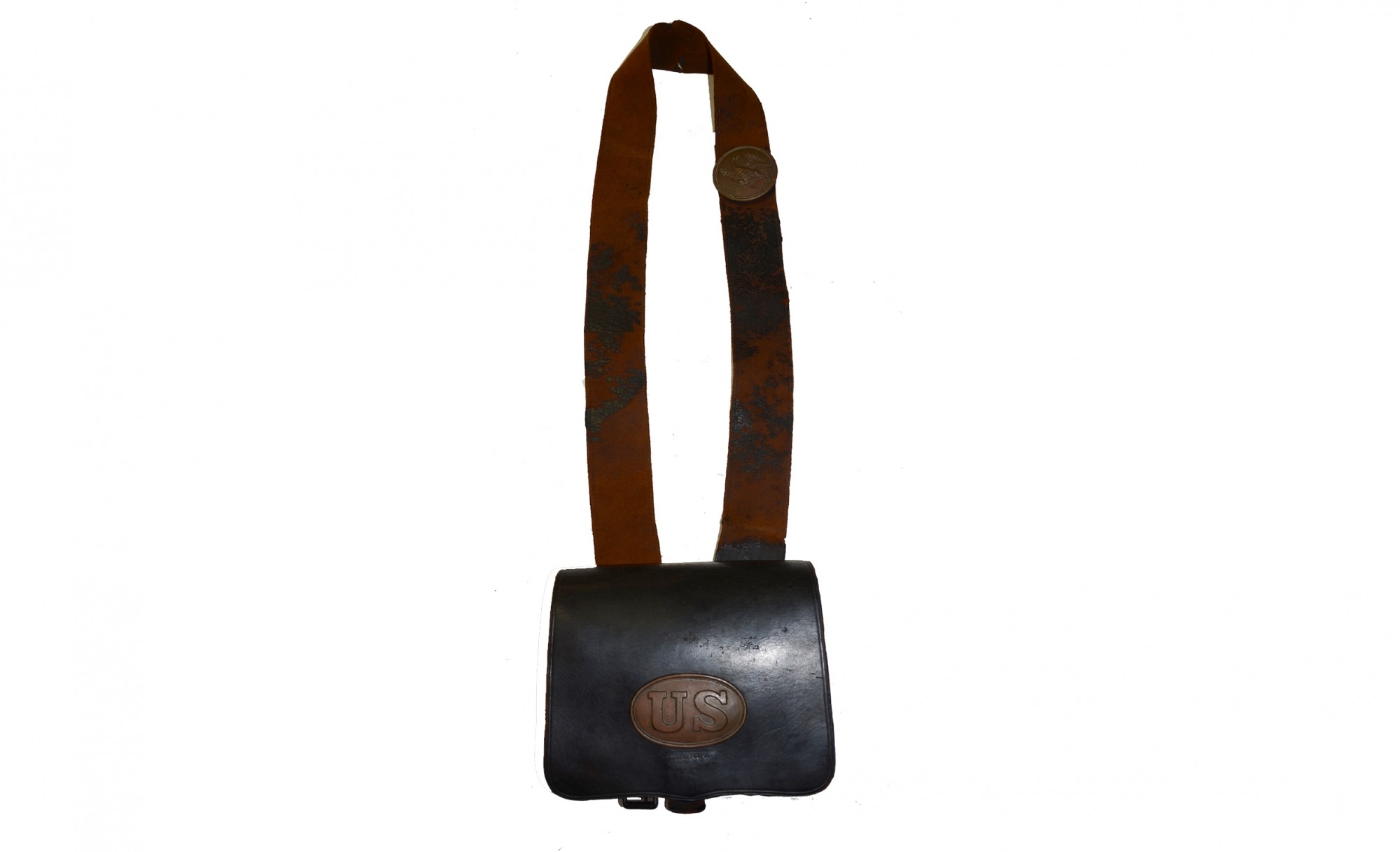 U.S. STAMPED, MAKER MARKED PATTERN 1861 LEATHER, RIFLE-MUSKET CARTRIDGE BOX WITH SHOULDER STRAP