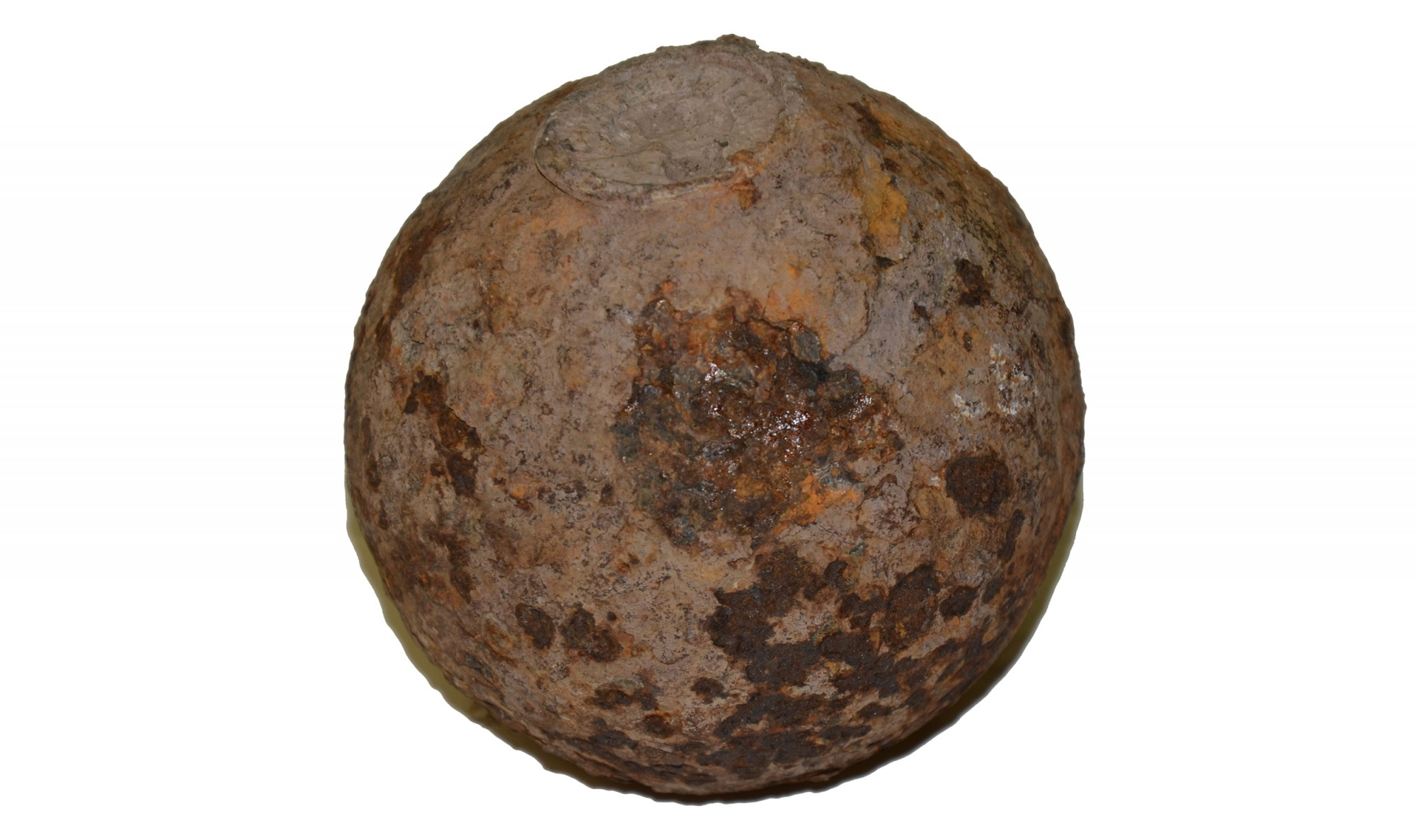 US 4.52 INCH 12 POUNDER SPHERICAL SHELL WITH BORMANN FUSE RECOVERED AT GETTYSBURG