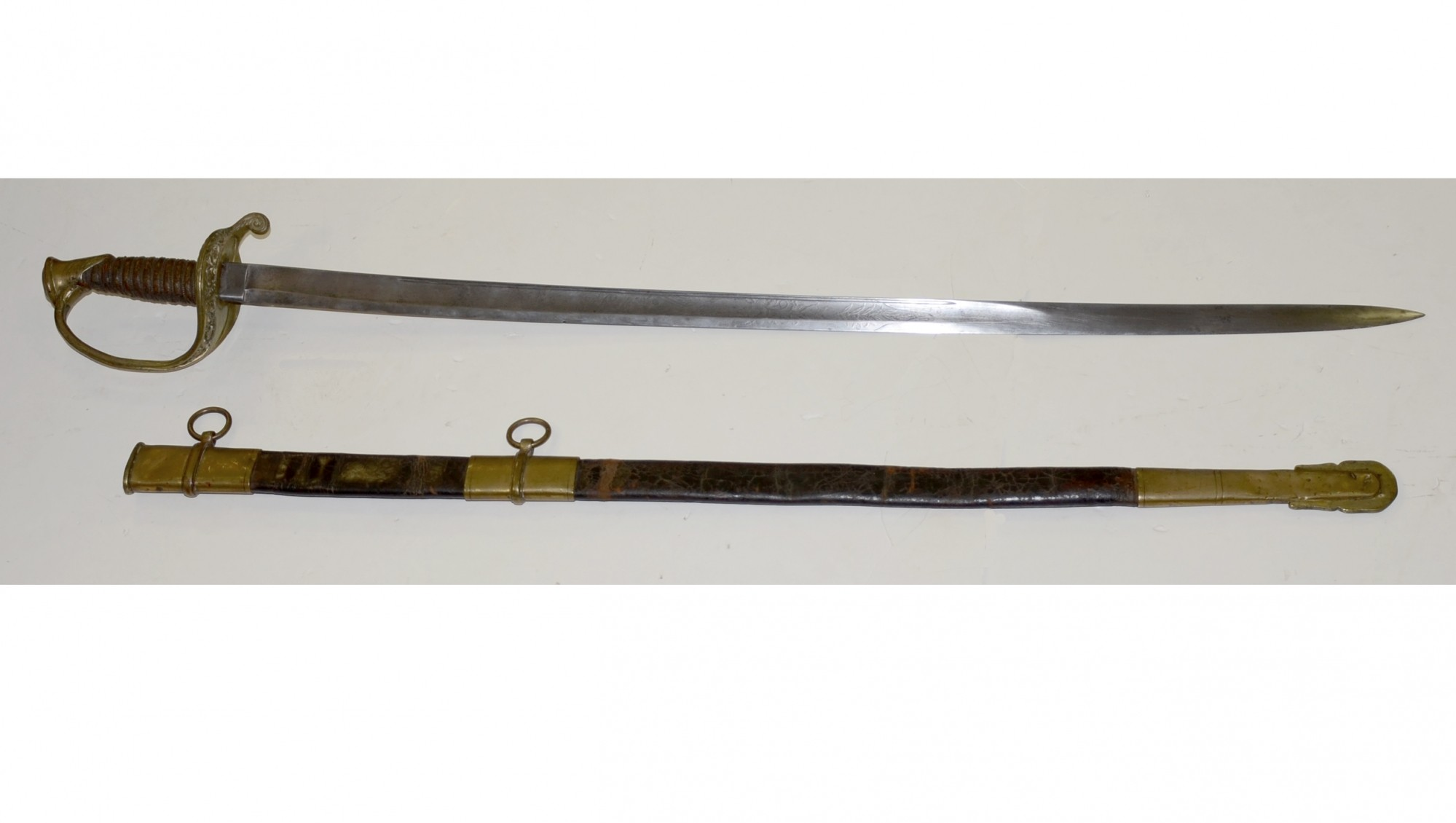 M1850 FOOT OFFICER'S SWORD AND LEATHER SCABBARD BY A NEW YORK MAKER