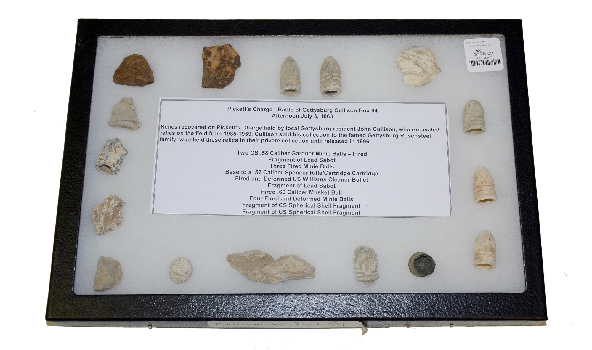BOX OF RELICS RECOVERED FROM THE AREA OF PICKETT'S CHARGE