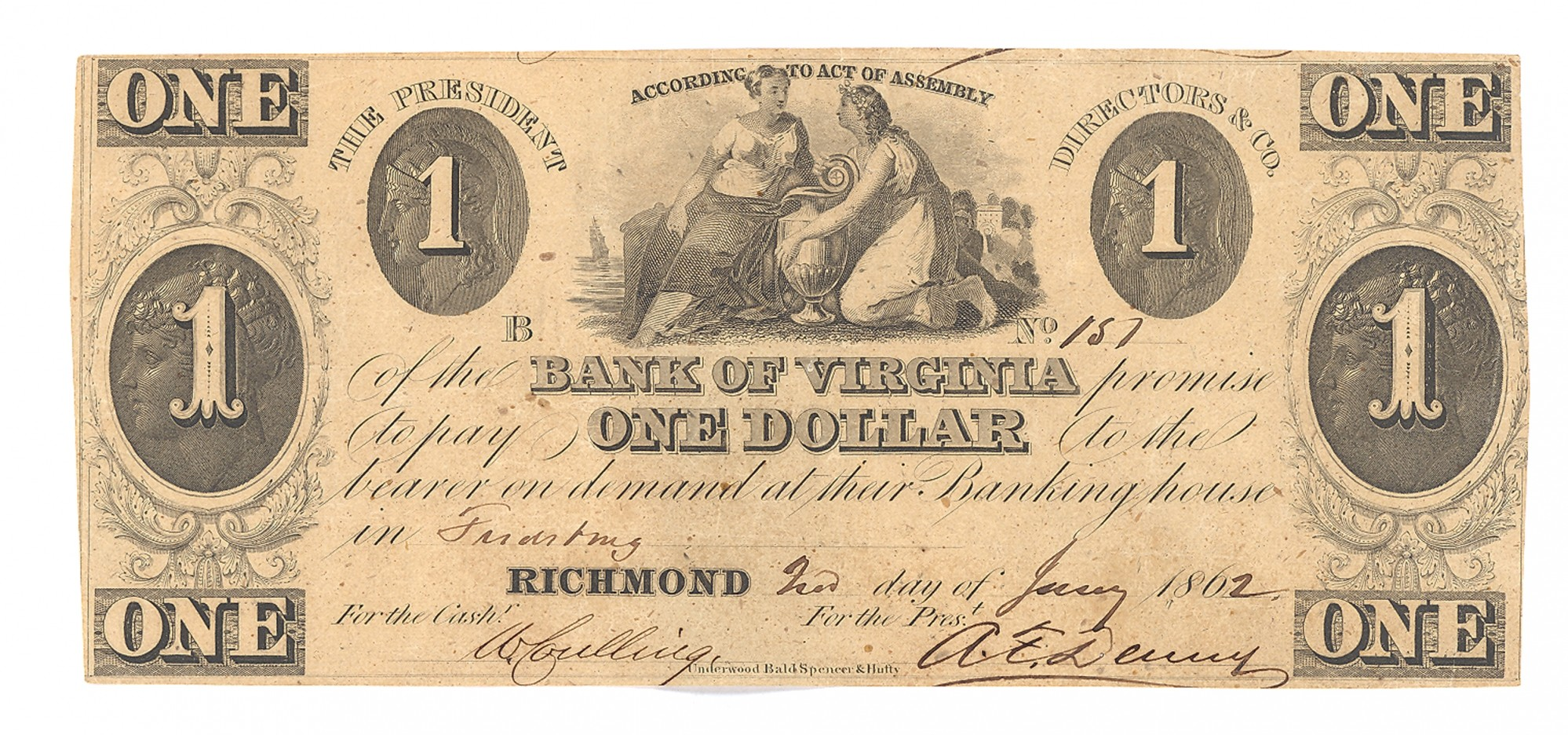 BANK OF VIRGINIA, RICHMOND, VIRGINIA $1 NOTE
