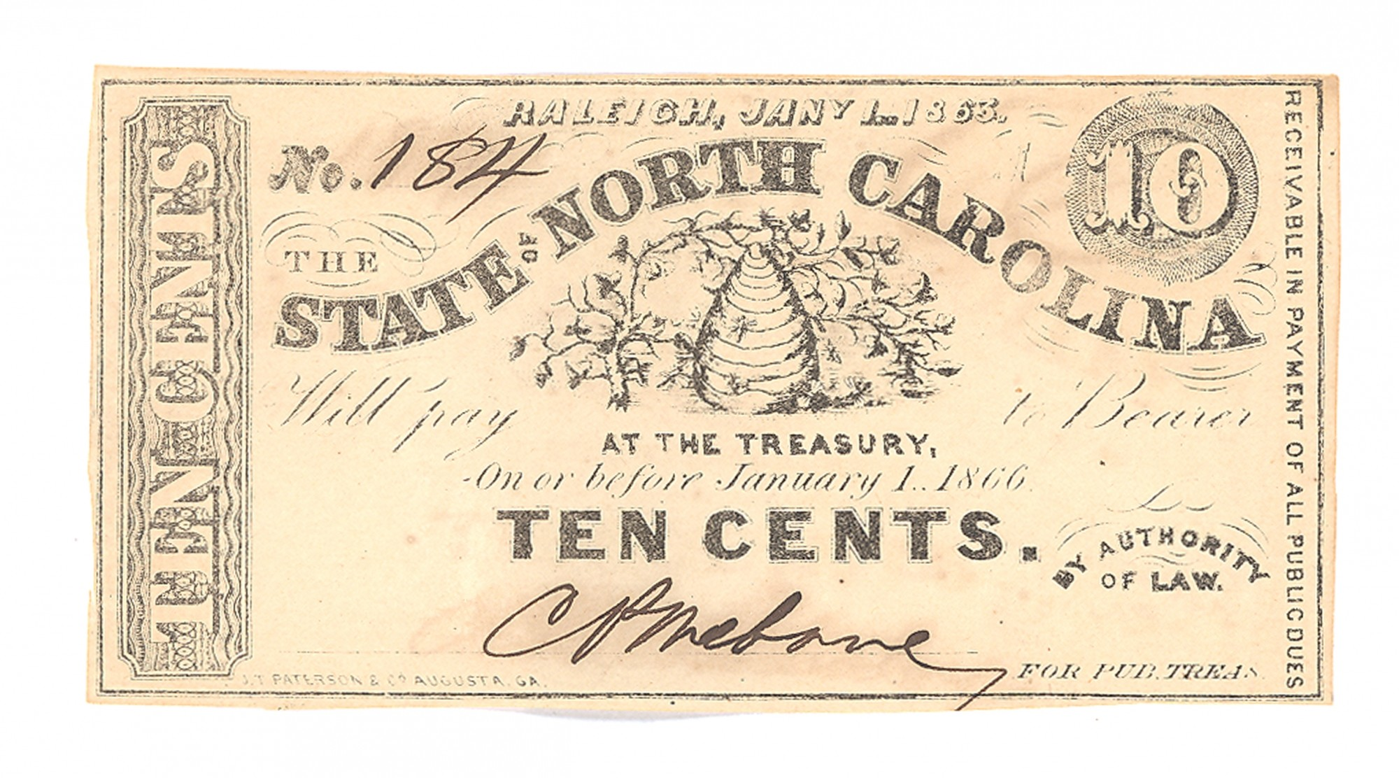 STATE OF NORTH CAROLINA, NORTH CAROLINA $.10 NOTE