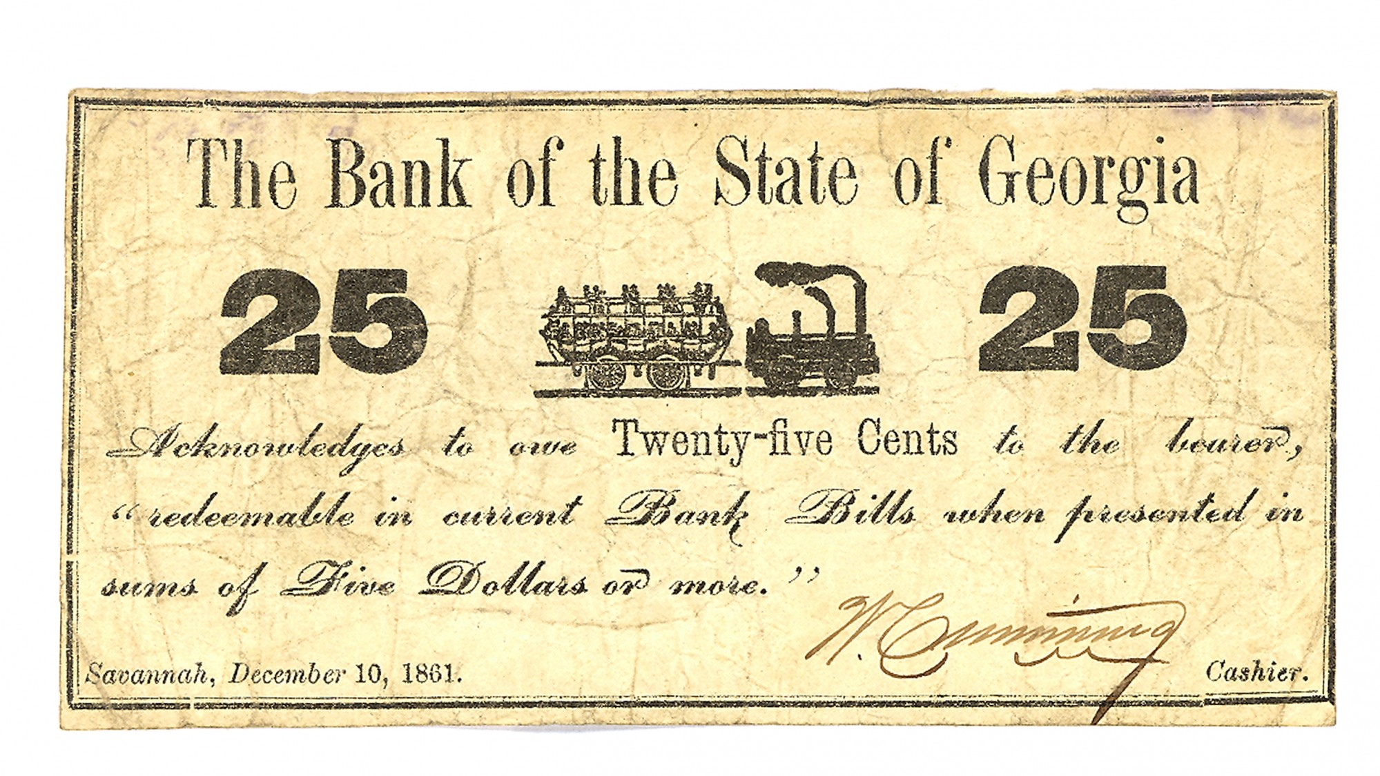 BANK OF THE STATE OF GEORGIA $.25 NOTE