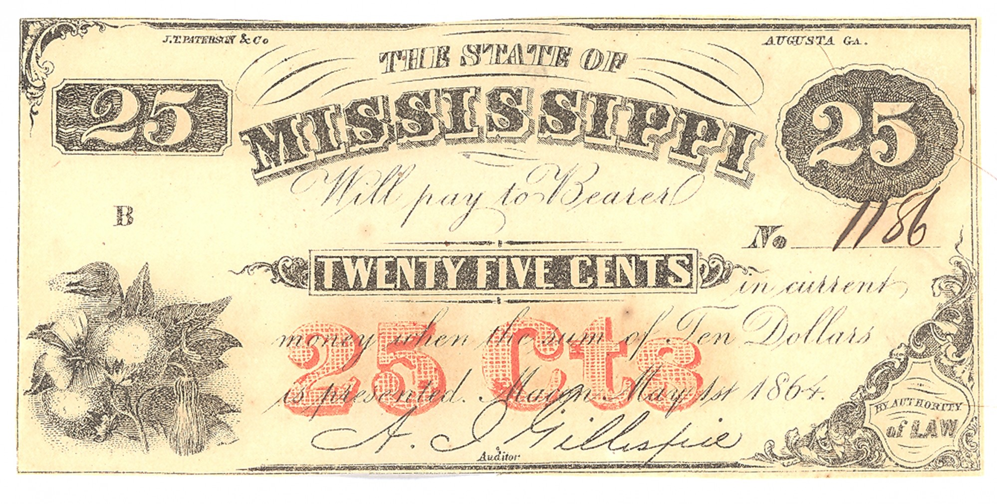 STATE OF MISSISSIPPI, MISSISSIPPI, $.25 NOTE