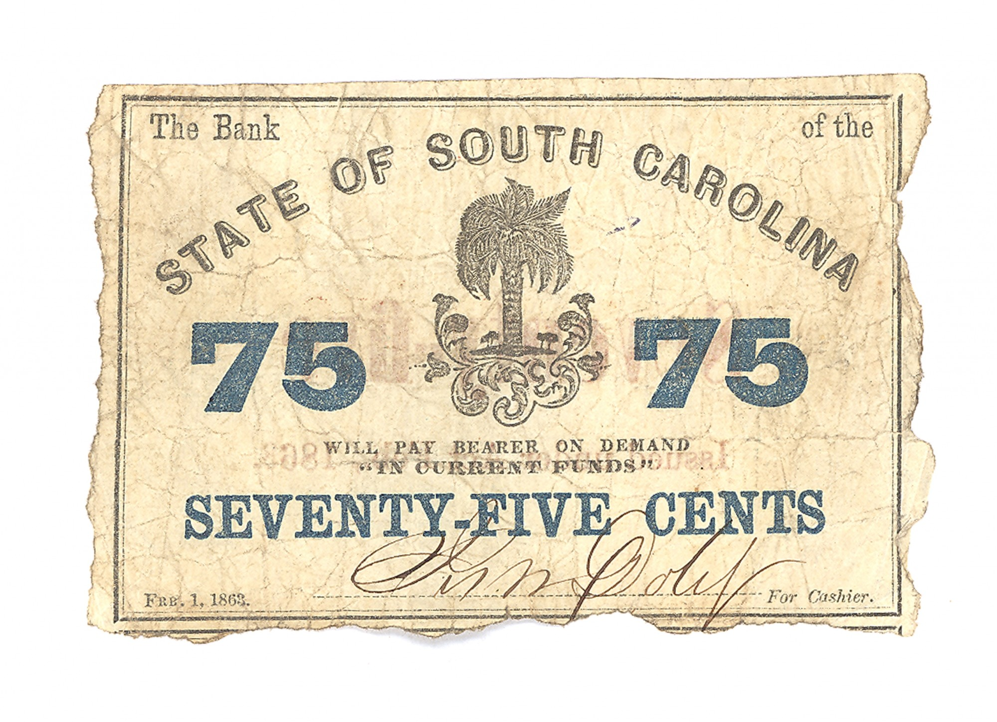 STATE OF SOUTH CAROLINA, SOUTH CAROLINA $.75 NOTE