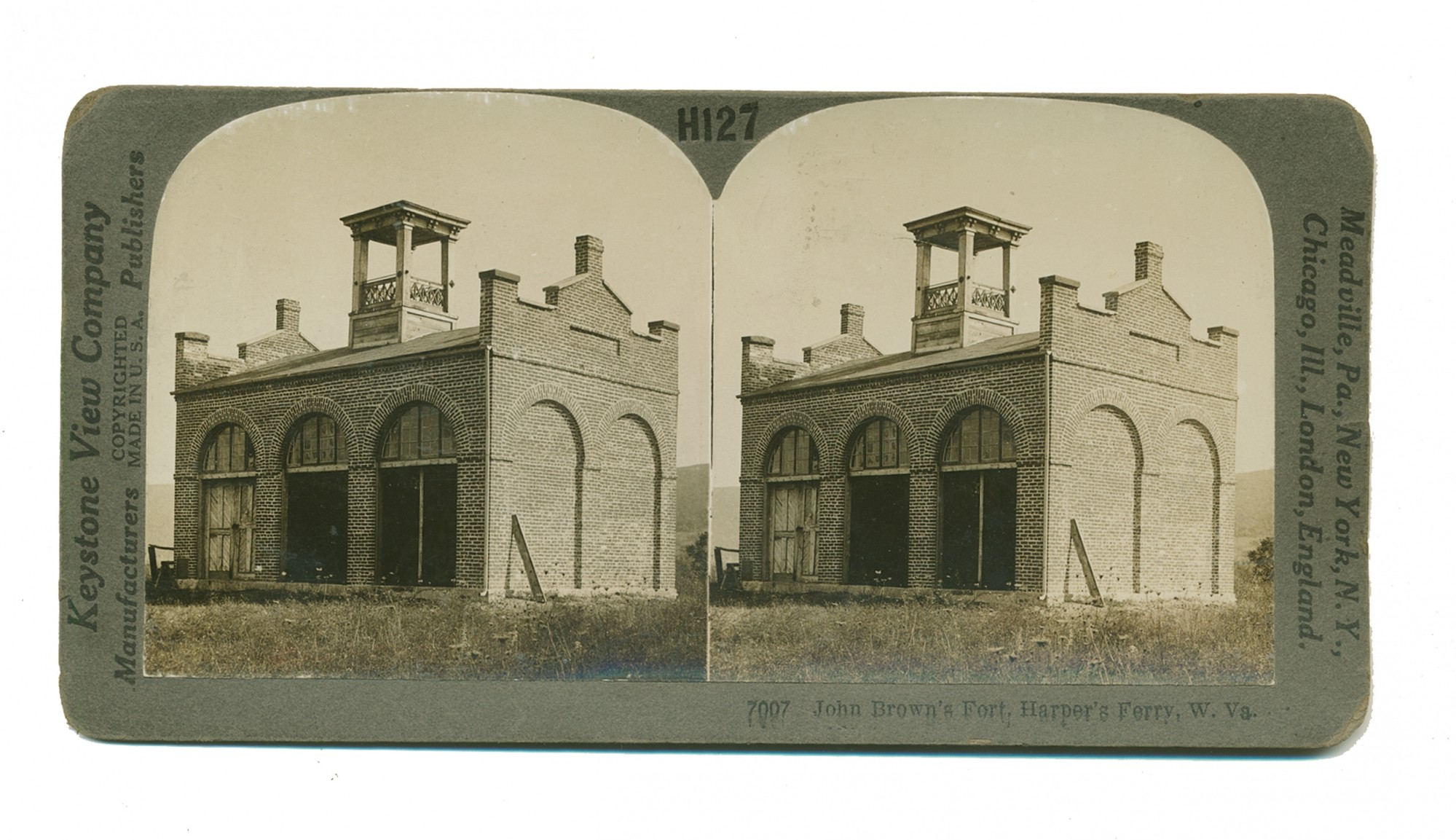 KEYSTONE COMPANY STEREO VIEW OF JOHN BROWN'S FORT, HARPER'S FERRY