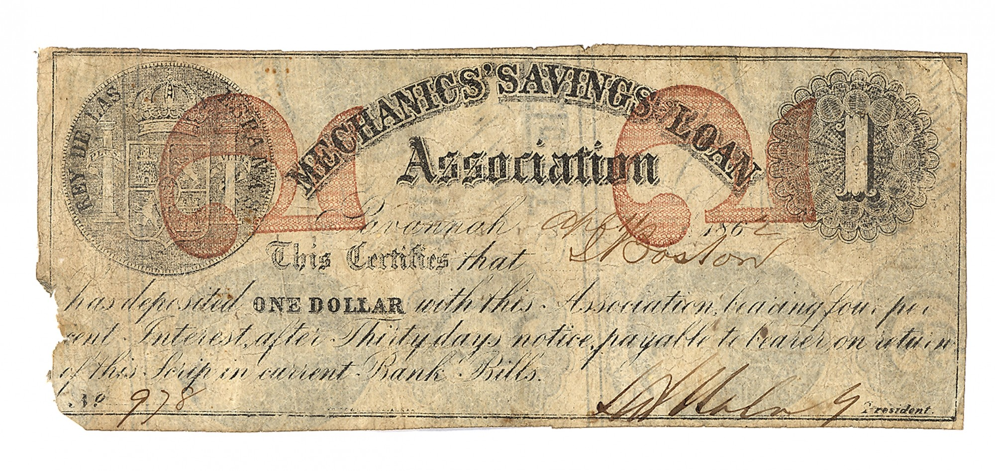 MECHANICS SAVING AND LOAN ASSOCIATION, GEORGIA, $1 NOTE