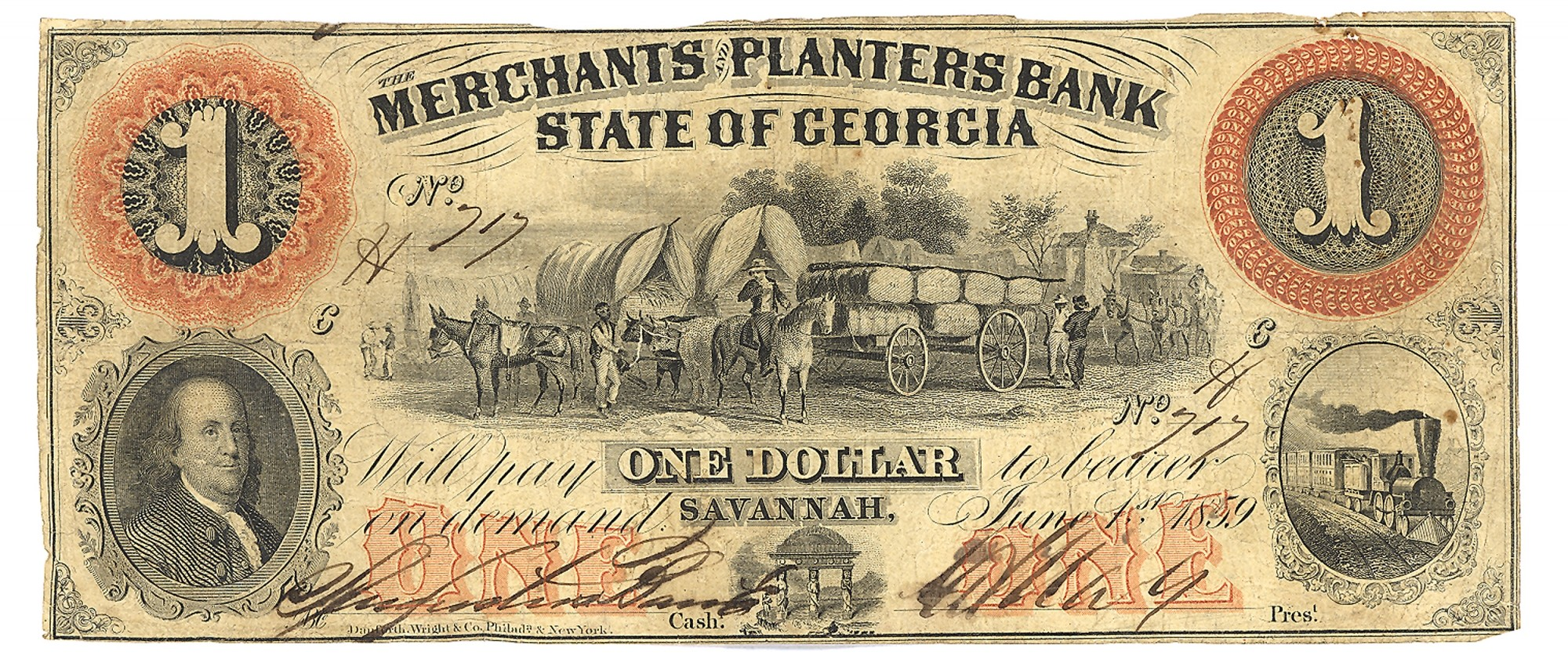 MERCHANTS AND PLANTERS BANK, SAVANNAH, GEORGIA, $1 NOTE