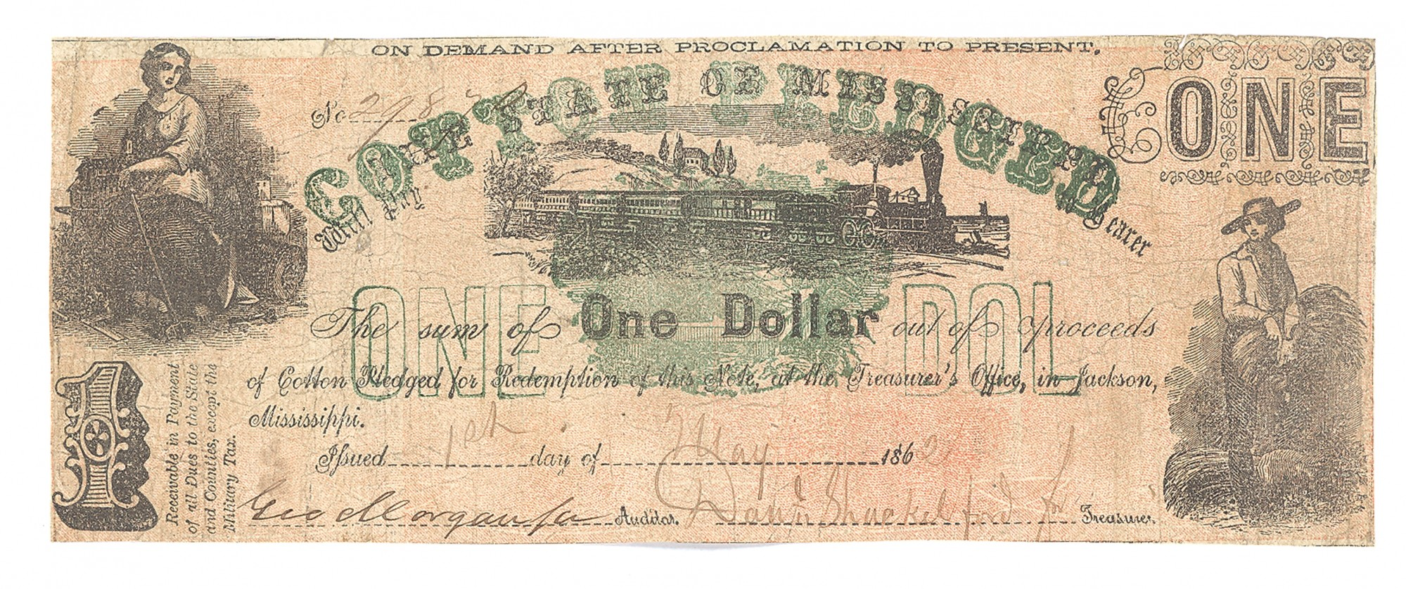 STATE OF MISSISSIPPI COTTON PLEDGED, MISSISSIPPI, $1 NOTE