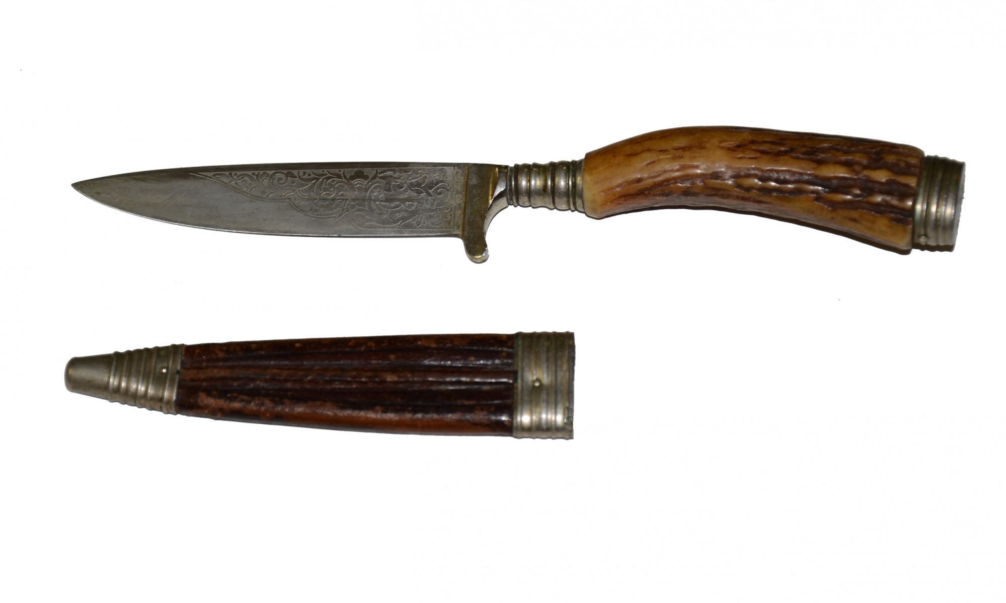 19th CENTURY GERMAN SIDE-KNIFE WITH SHEATH