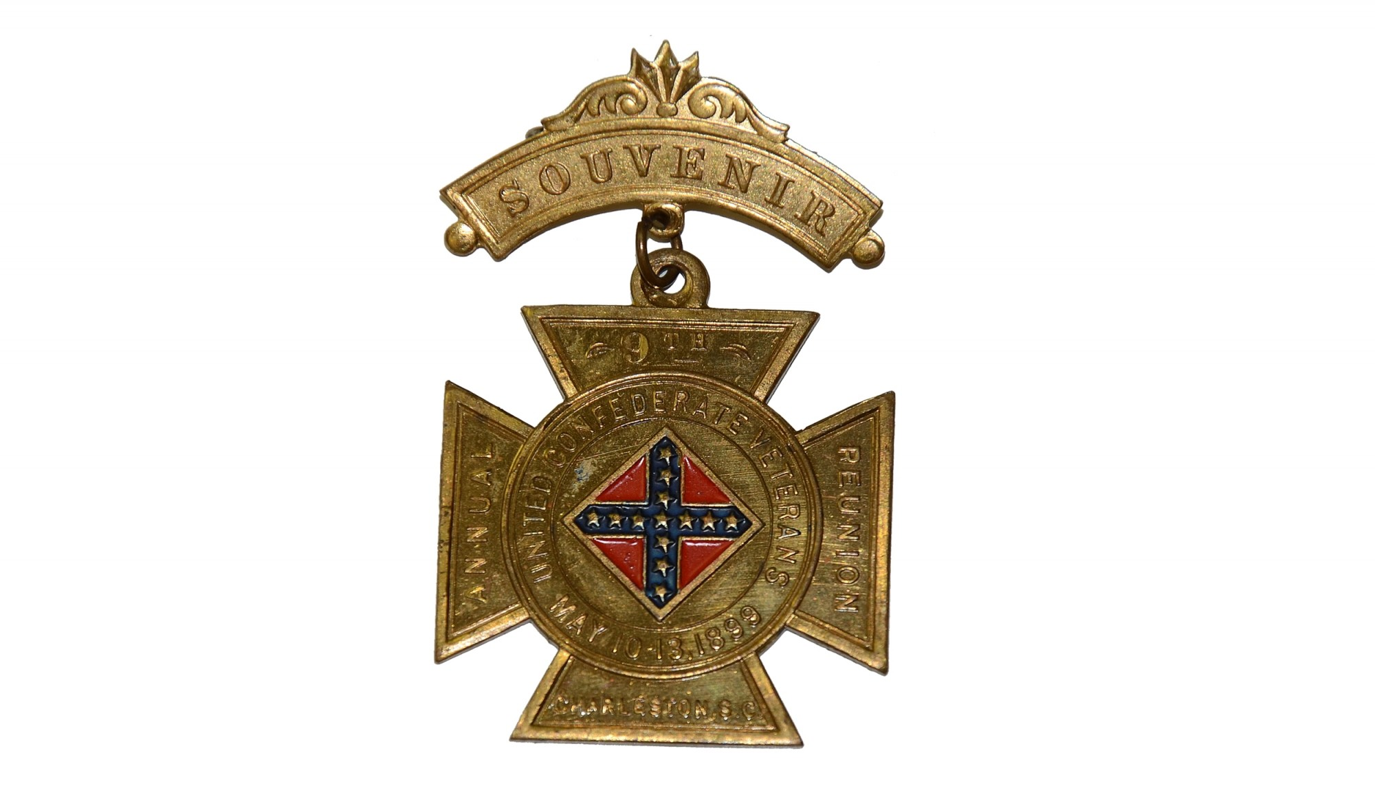 UNITED CONFEDERATE VETERANS BADGE FOR 9TH ANNUAL REUNION