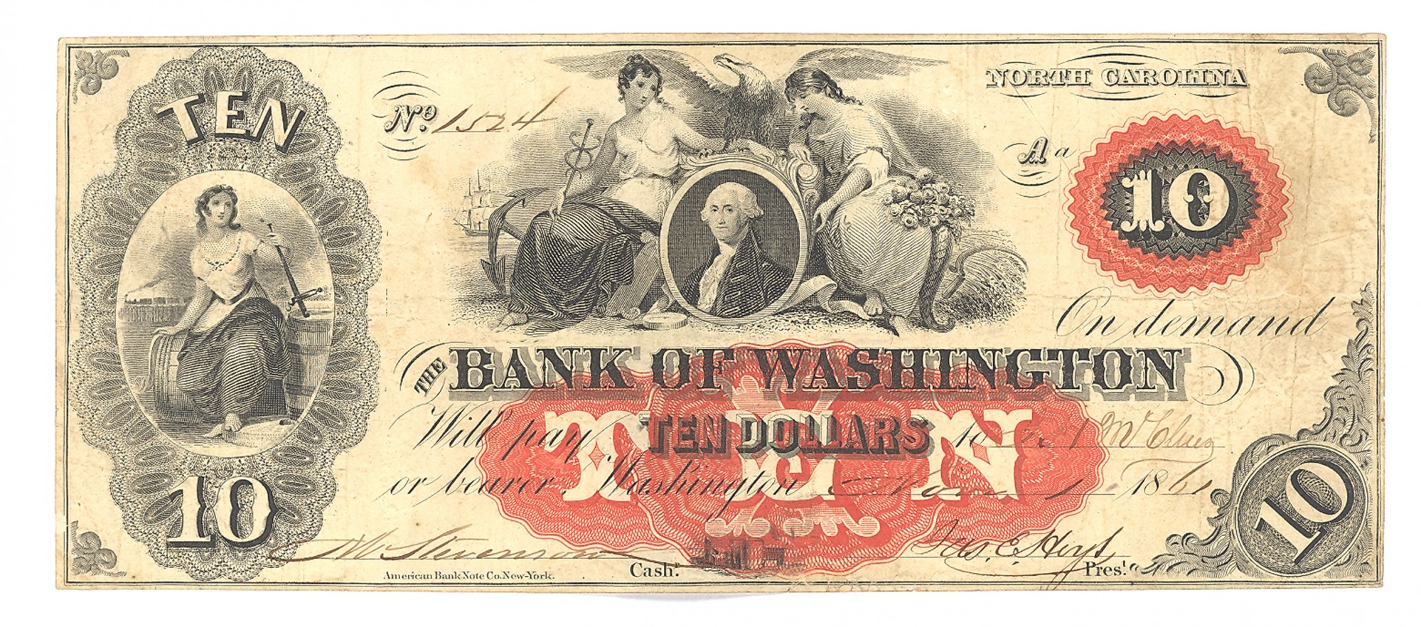 BANK OF WASHINGTON, NORTH CAROLINA $10 NOTE