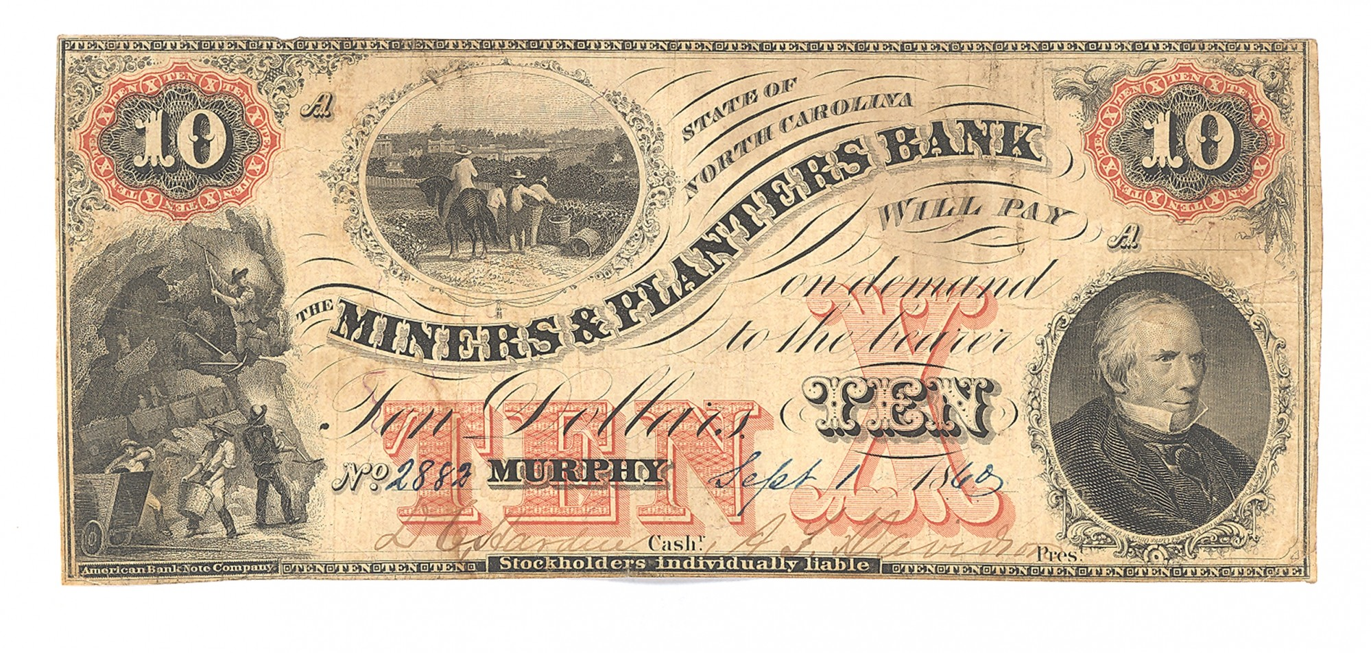 MINERS AND PLANTERS BANK, NORTH CAROLINA $10 NOTE