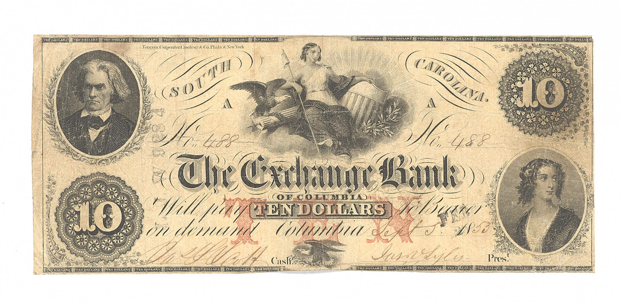 EXCHANGE BANK OF COLUMBIA, SOUTH CAROLINA $10 NOTE