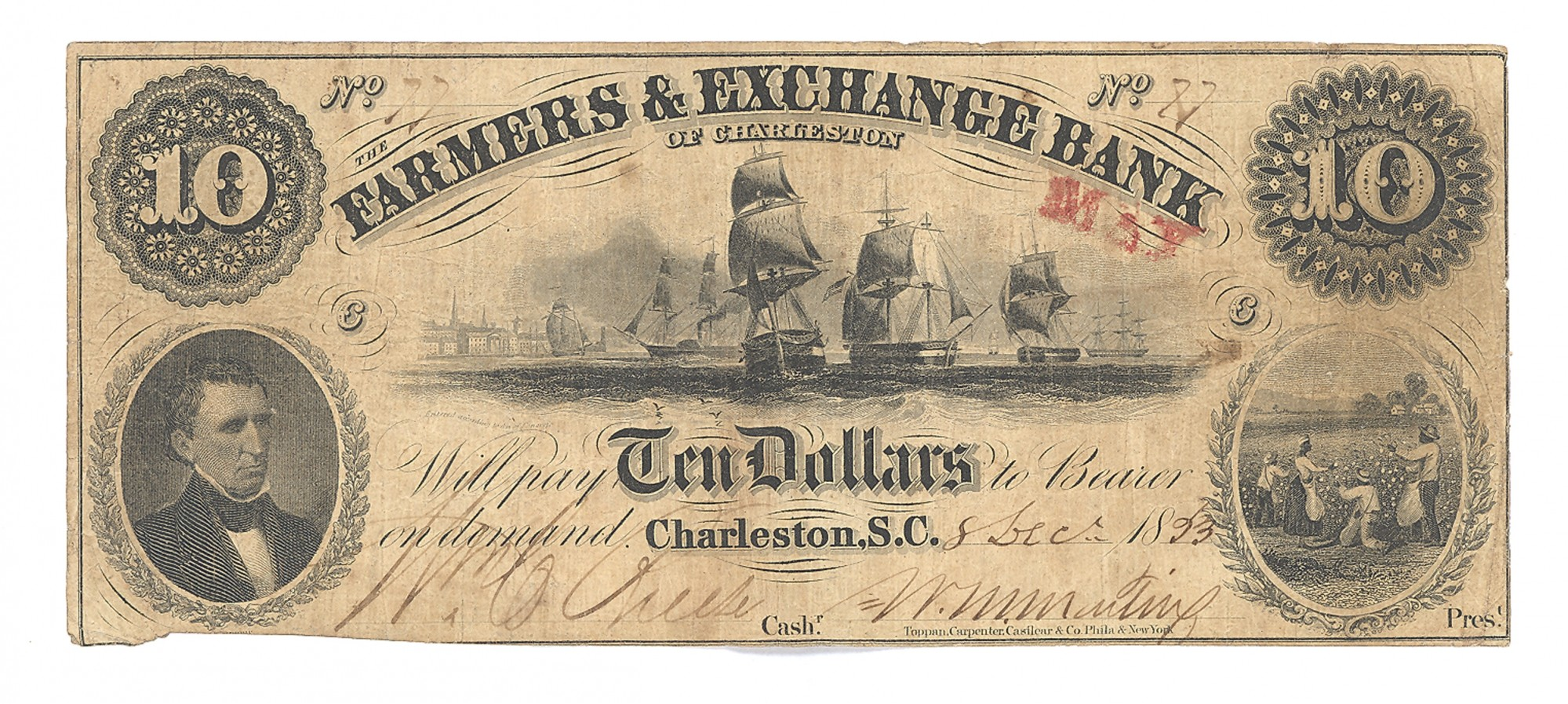 FARMERS & EXCHANGE BANK, CHARLESTON SOUTH CAROLINA $10 NOTE