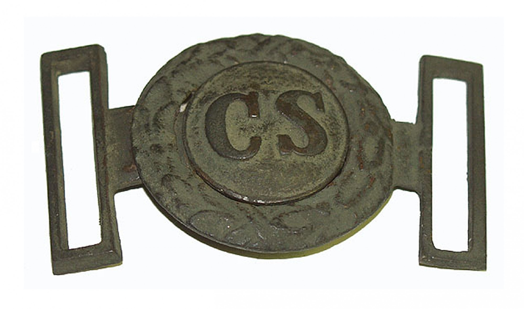 "CONFEDERATE ""RICHMOND STYLE"" TWO-PIECE WAIST BELT PLATE IN WONDERFUL DUG CONDITION"