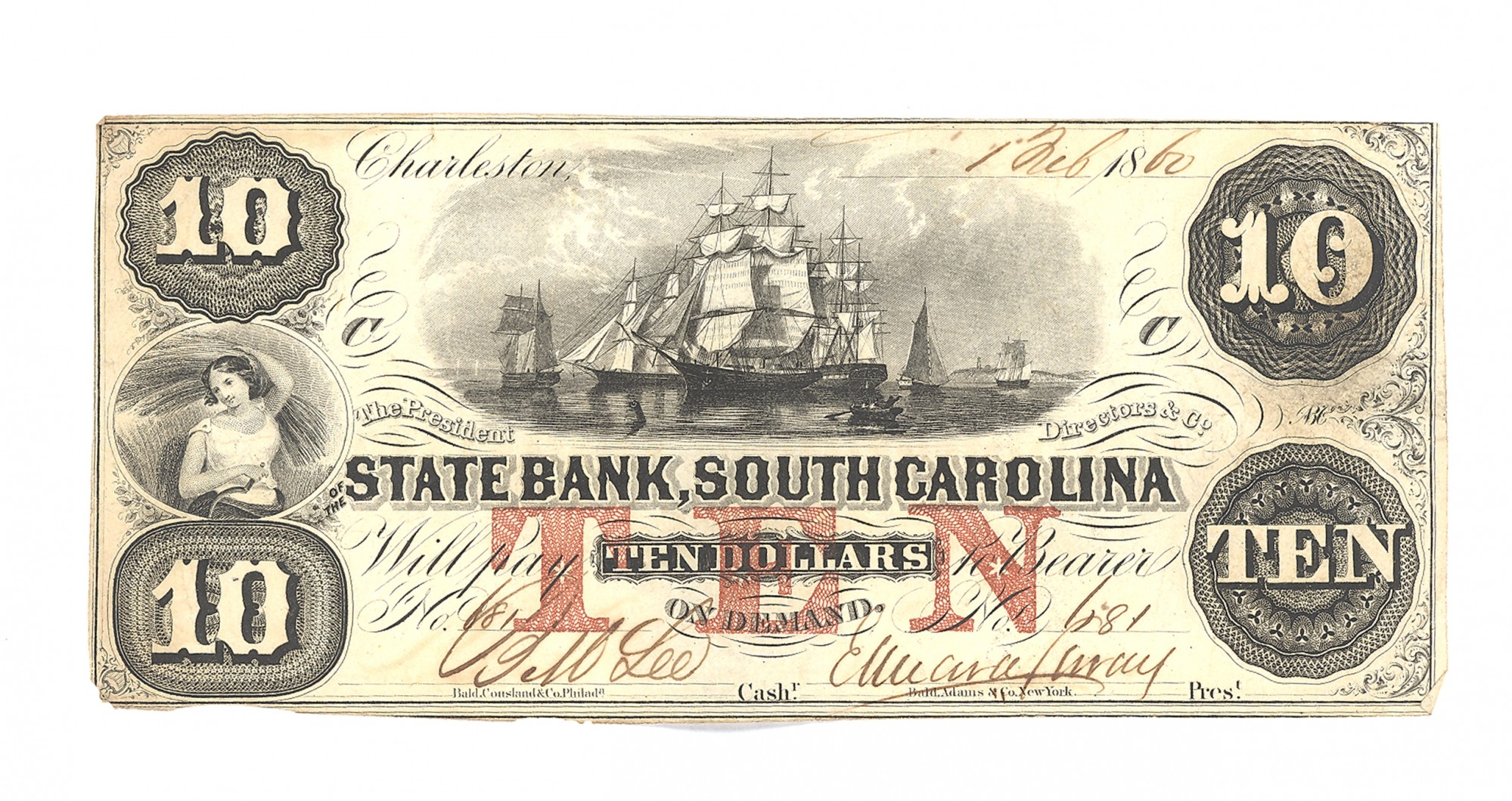 STATE BANK OF SOUTH CAROLINA, SOUTH CAROLINA $10 NOTE