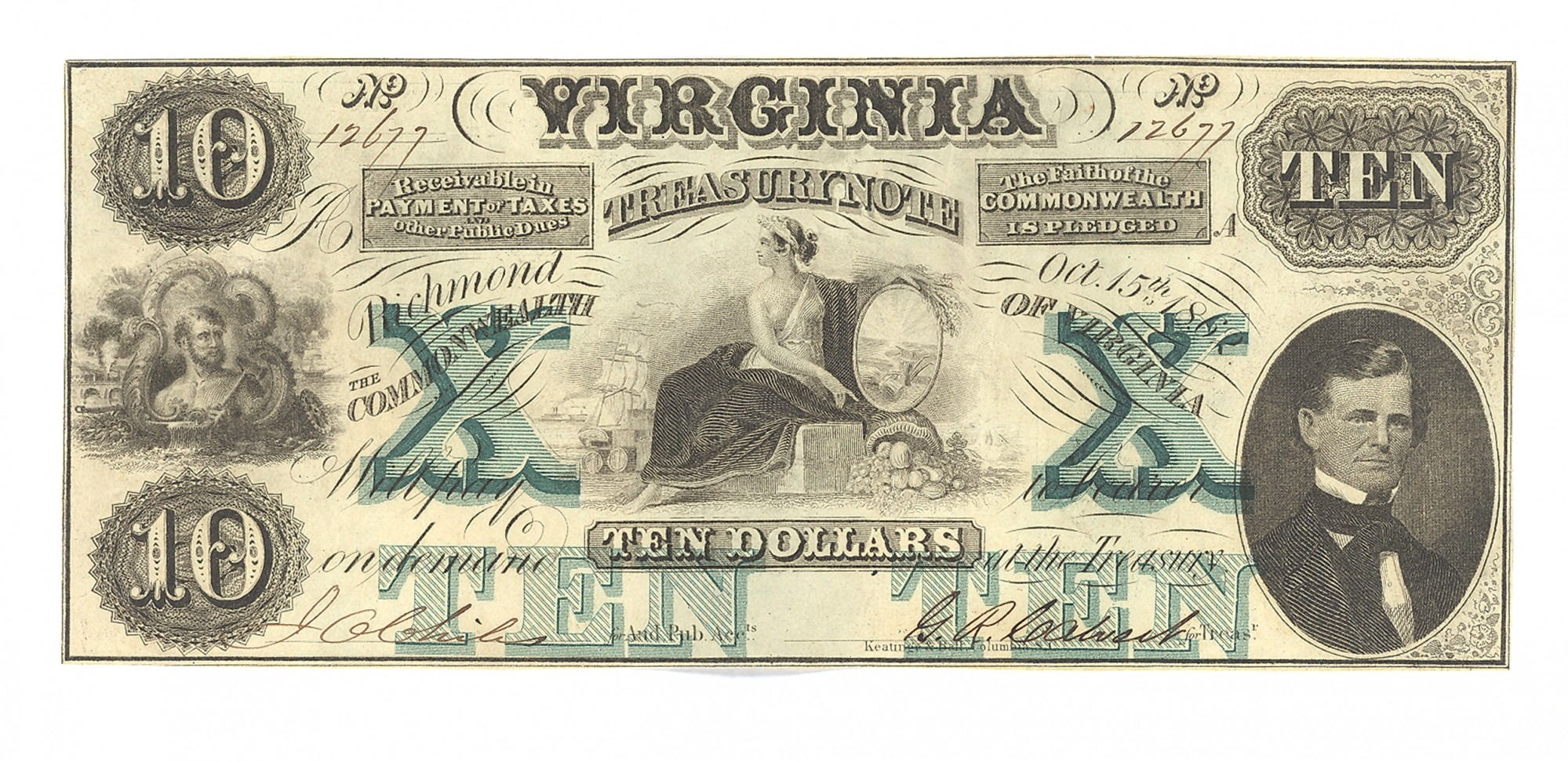 VIRGINIA TREASURY NOTE, RICHMOND, VIRGINIA $10 NOTE