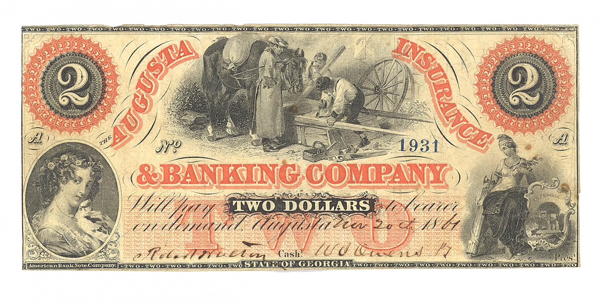 AUGUSTA INSURANCE & BANKING CO., AUGUSTA, GEORGIA, $2 NOTE
