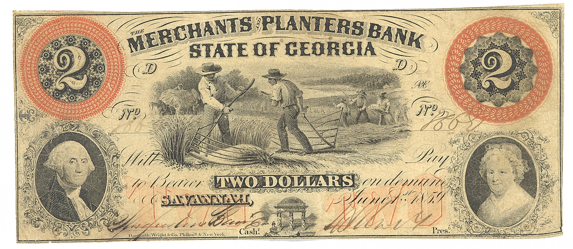MERCHANTS AND PLANTERS BANK, SAVANNAH, GEORGIA, $2 NOTE