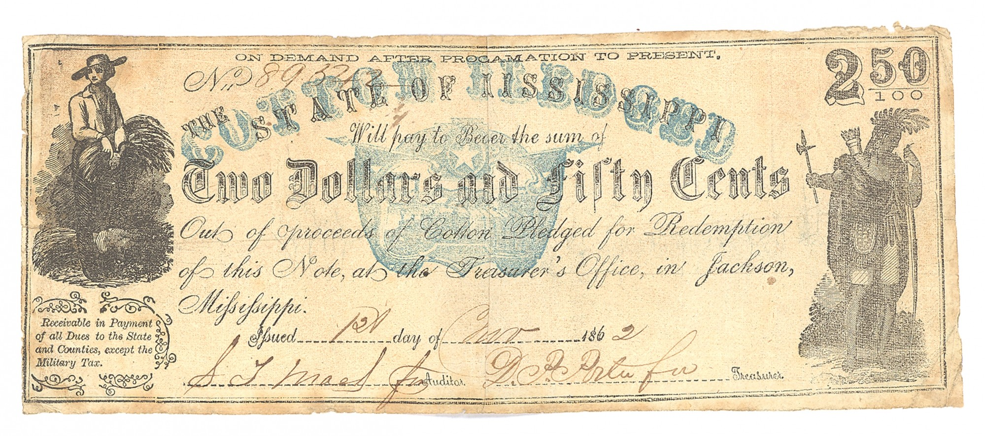 STATE OF MISSISSIPPI COTTON PLEDGED, MISSISSIPPI, $2.50 NOTE
