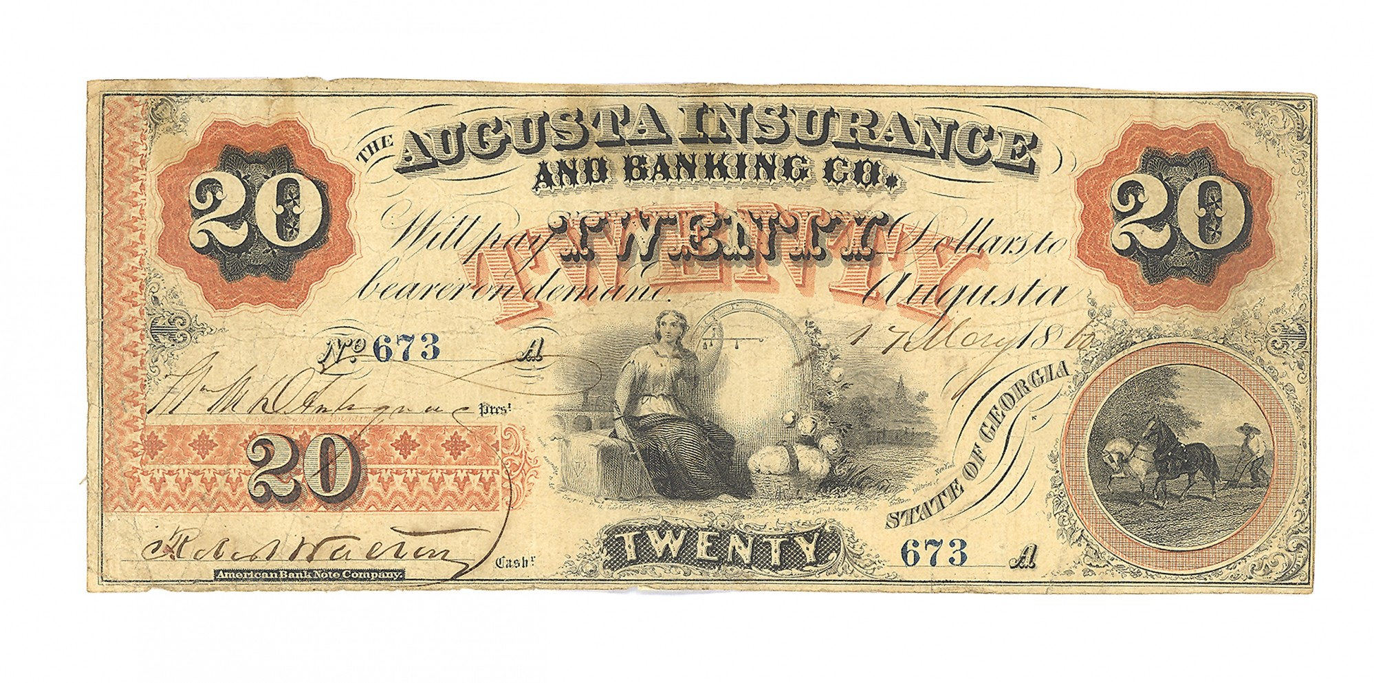 AUGUSTA INSURANCE & BANKING CO., AUGUSTA, GEORGIA, $20 NOTE
