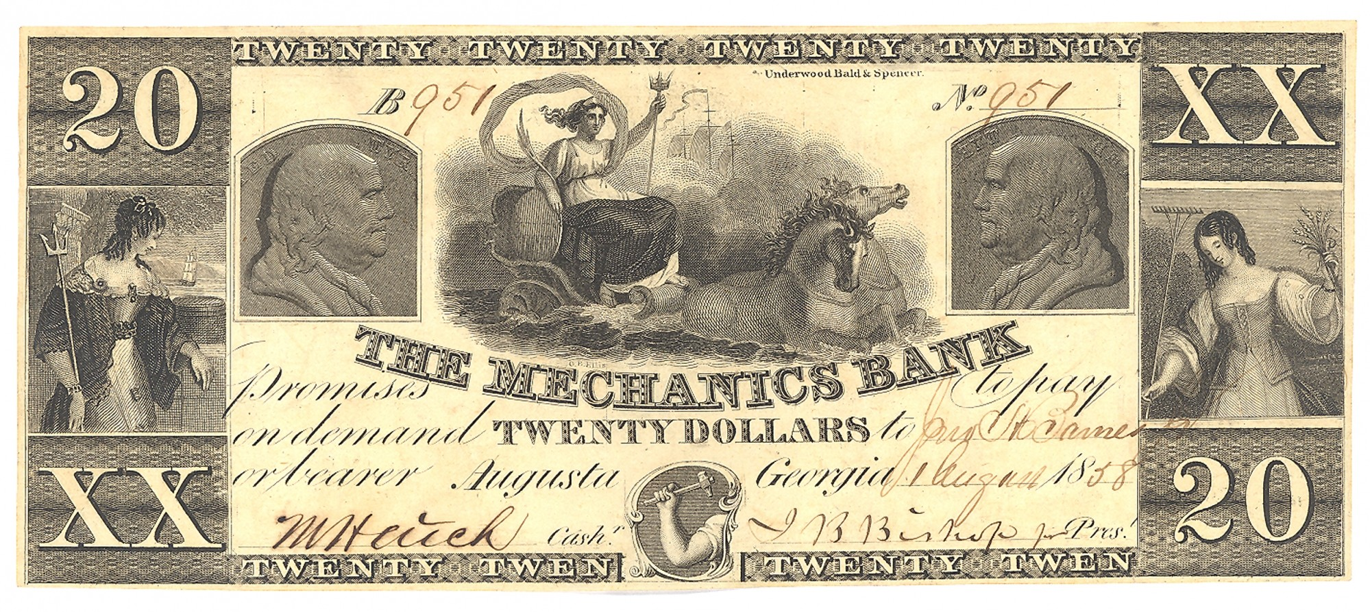 MECHANICS BANK, AUGUSTA, GEORGIA, $20 NOTE