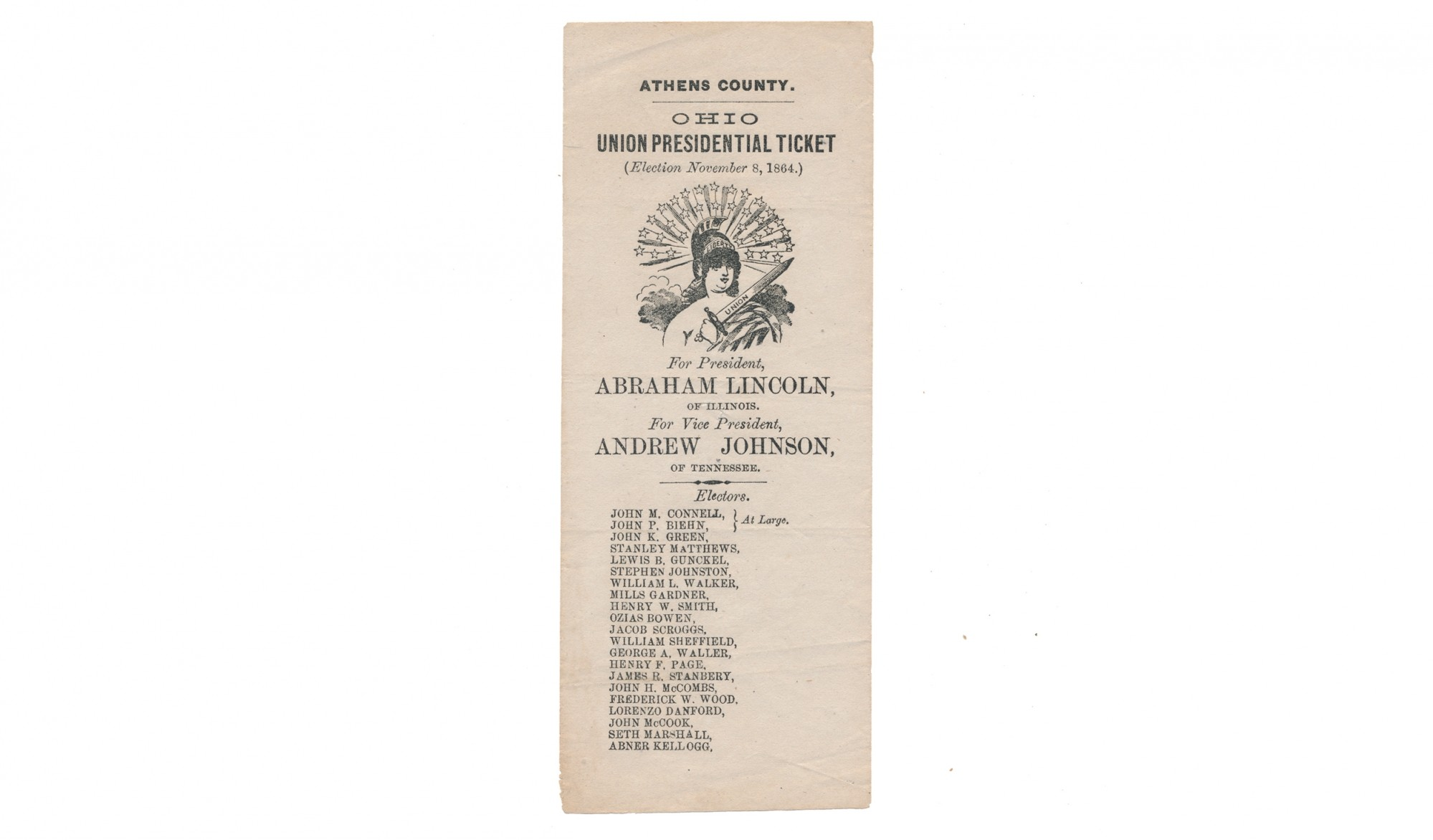 LINCOLN / JOHNSON 1864 CAMPAIGN FLYER - ATHENS COUNTY, OHIO UNION PRESIDENTIAL TICKET