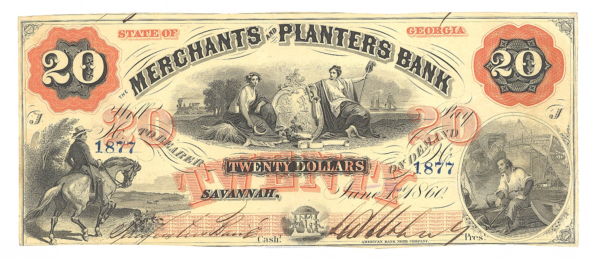 MERCHANTS AND PLANTERS BANK, SAVANNAH, GEORGIA, $20 NOTE