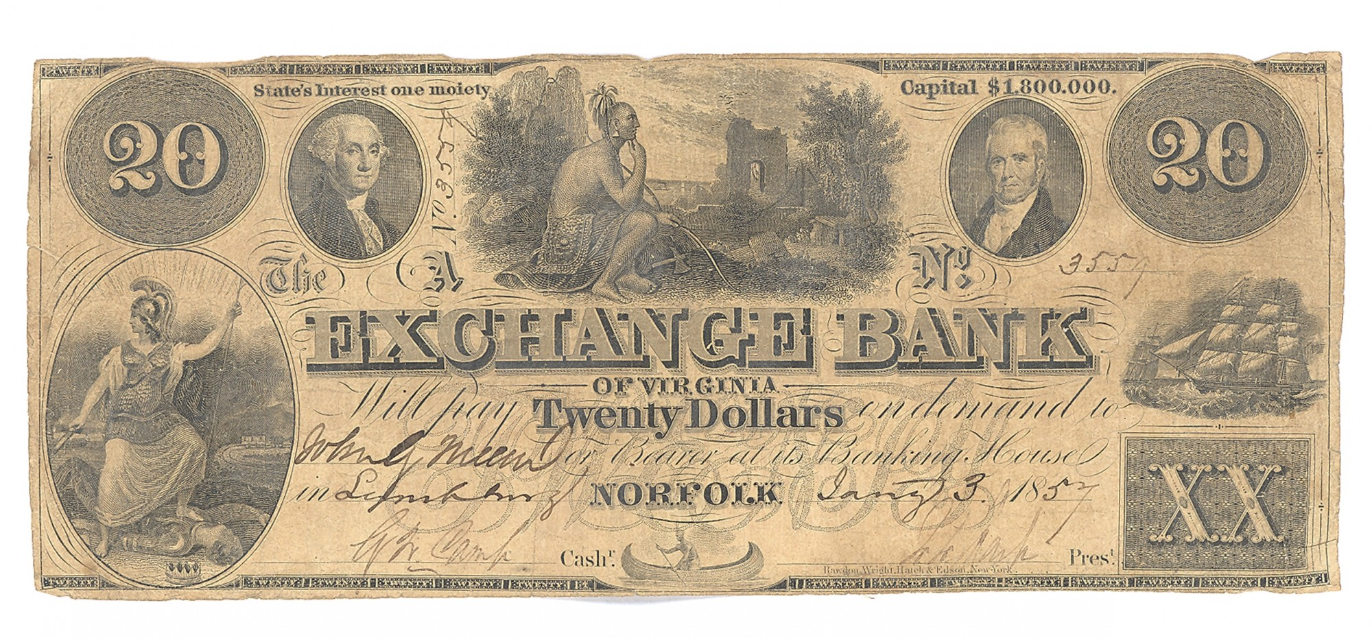 EXCHANGE BANK OF VIRGINIA, NORFOLK, VIRGINIA $20 NOTE
