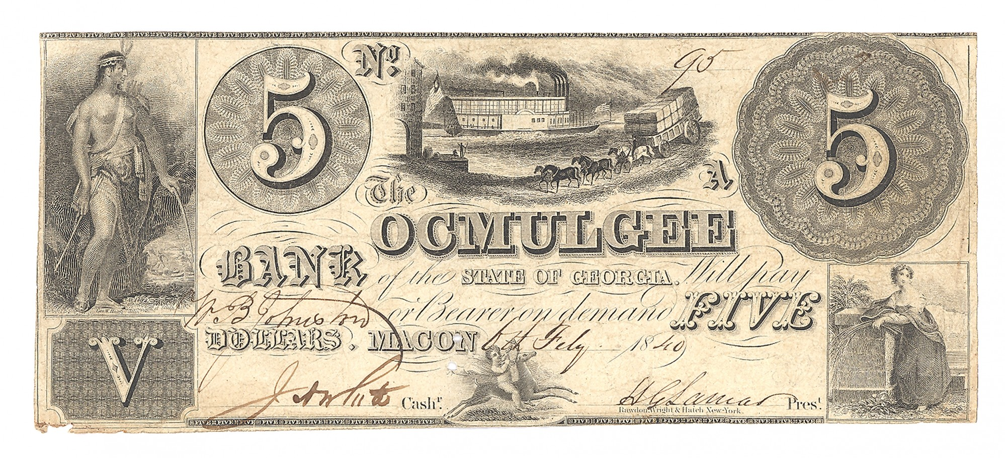 OCMULGEE BANK, GEORGIA, $5 NOTE