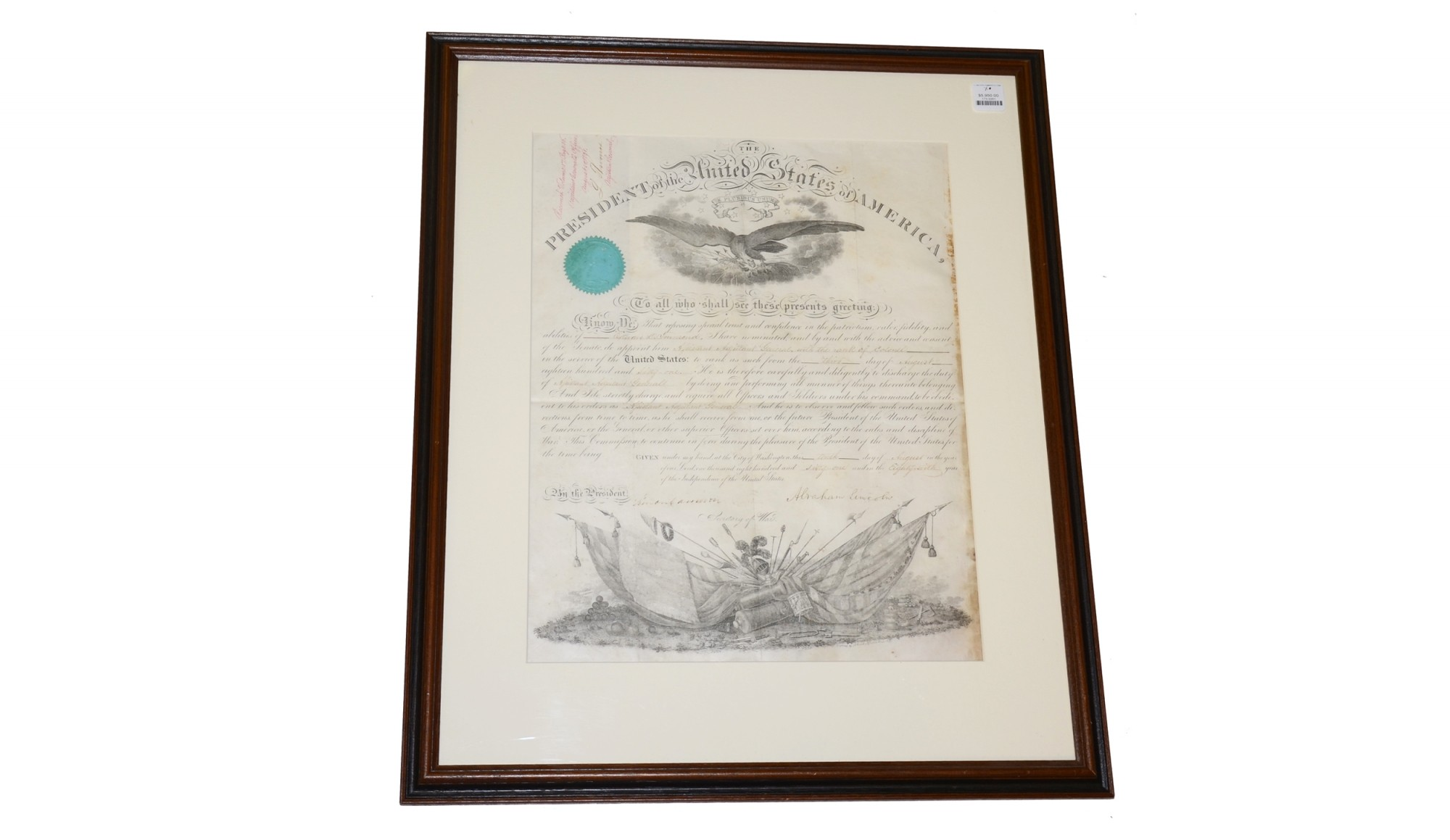 FRAMED ABRAHAM LINCOLN SIGNED COMMISSION FOR COLONEL EDWARD D. TOWNSEND