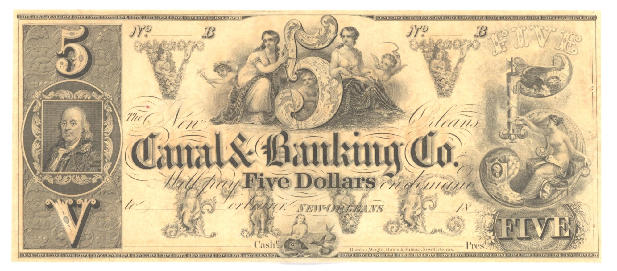 CANAL BANK, LOUISIANA, $5 NOTE